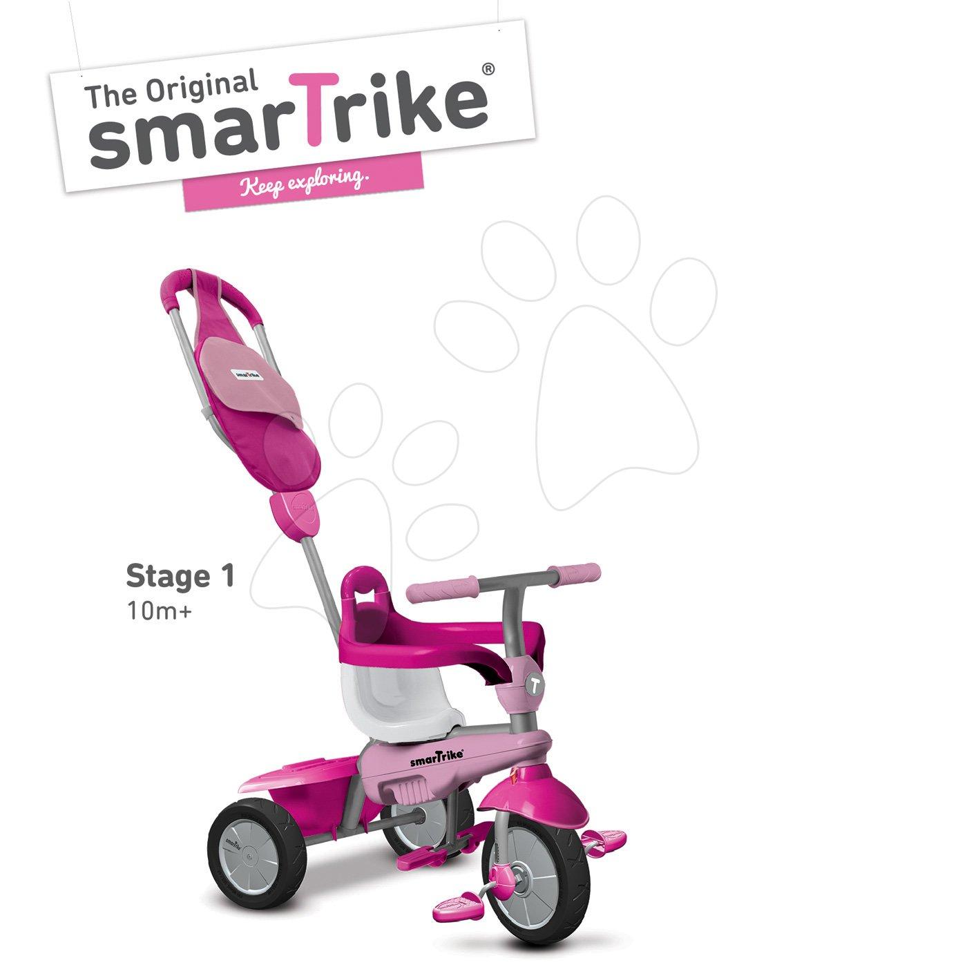 Trojkolky od 10 mesiacov - Trojkolka Breeze GL 3v1 Pink Touch Steering smarTrike ružovo-cyklámenová od 10 mes