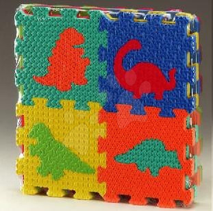 Pěnové puzzle Dino čtverce Lee 16 dílů 15*15*1,2 cm