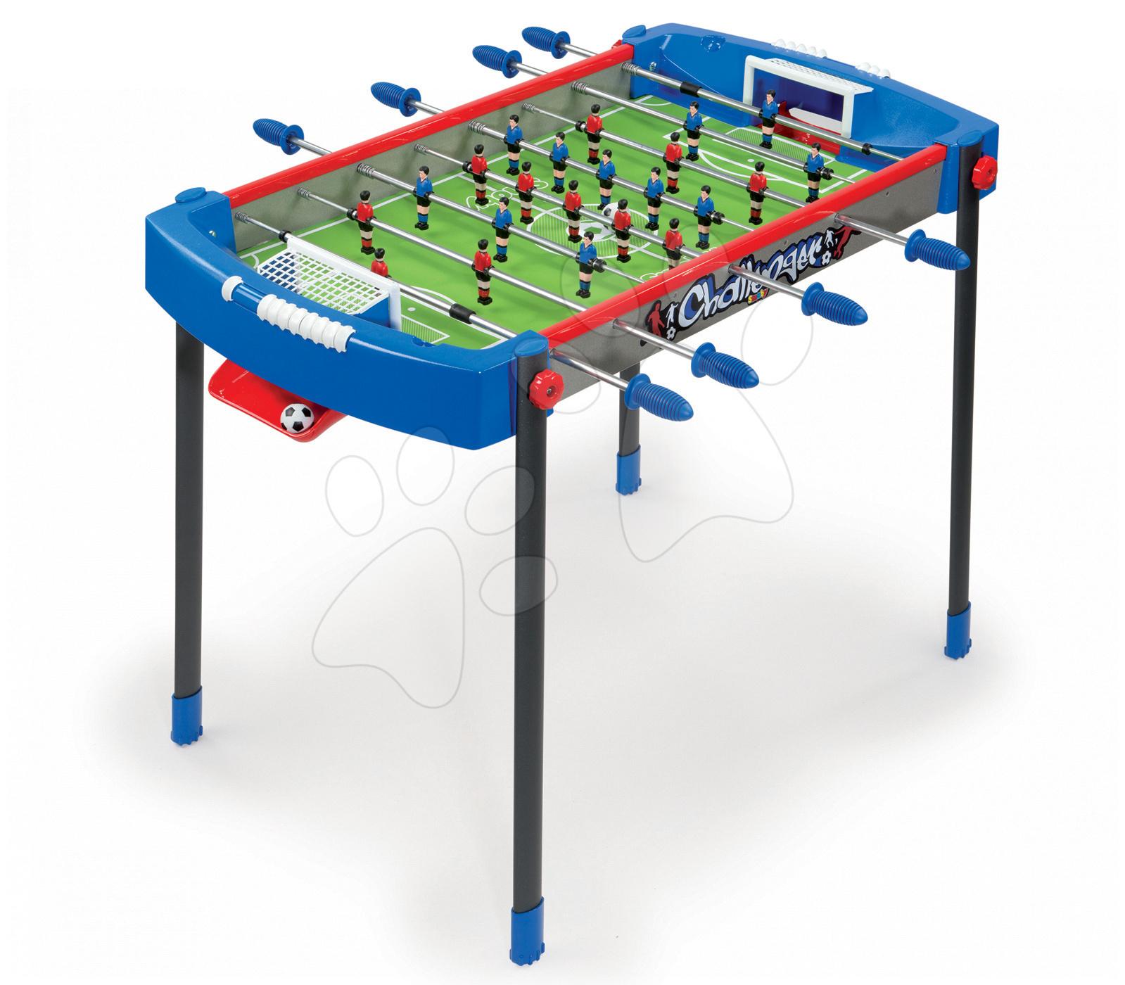 Stolný futbal - Futbalový stôl Challenger Smoby s 2 loptičkami modro-červený od 6 rokov