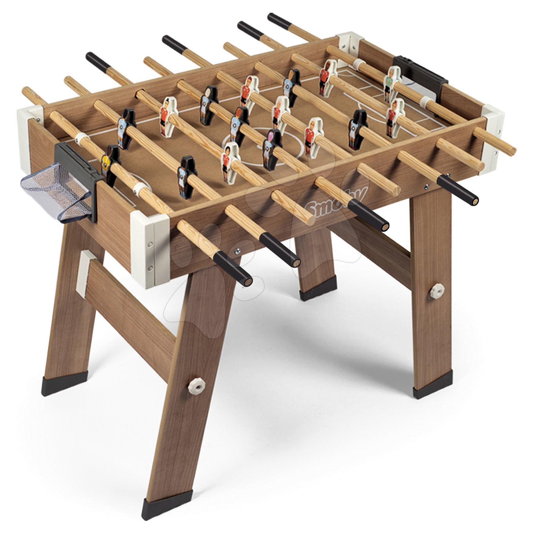 Stolný futbal - Drevený futbalový stôl Click&Goal Soccer Table Smoby skladací a rozkladací za 10 minút s 2 loptičkami od 8 rokov