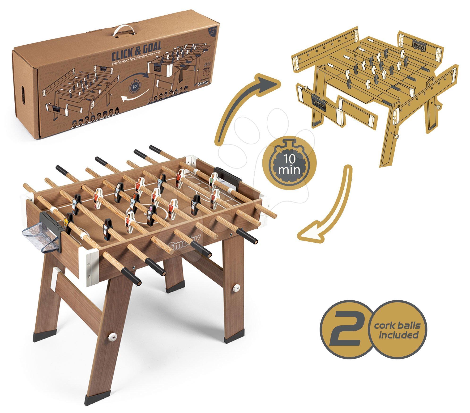 Fa csocsóasztal Click&Goal Soccer Table Smoby összecsukható 10 perc alatt 2 labdával 8 éves kortól