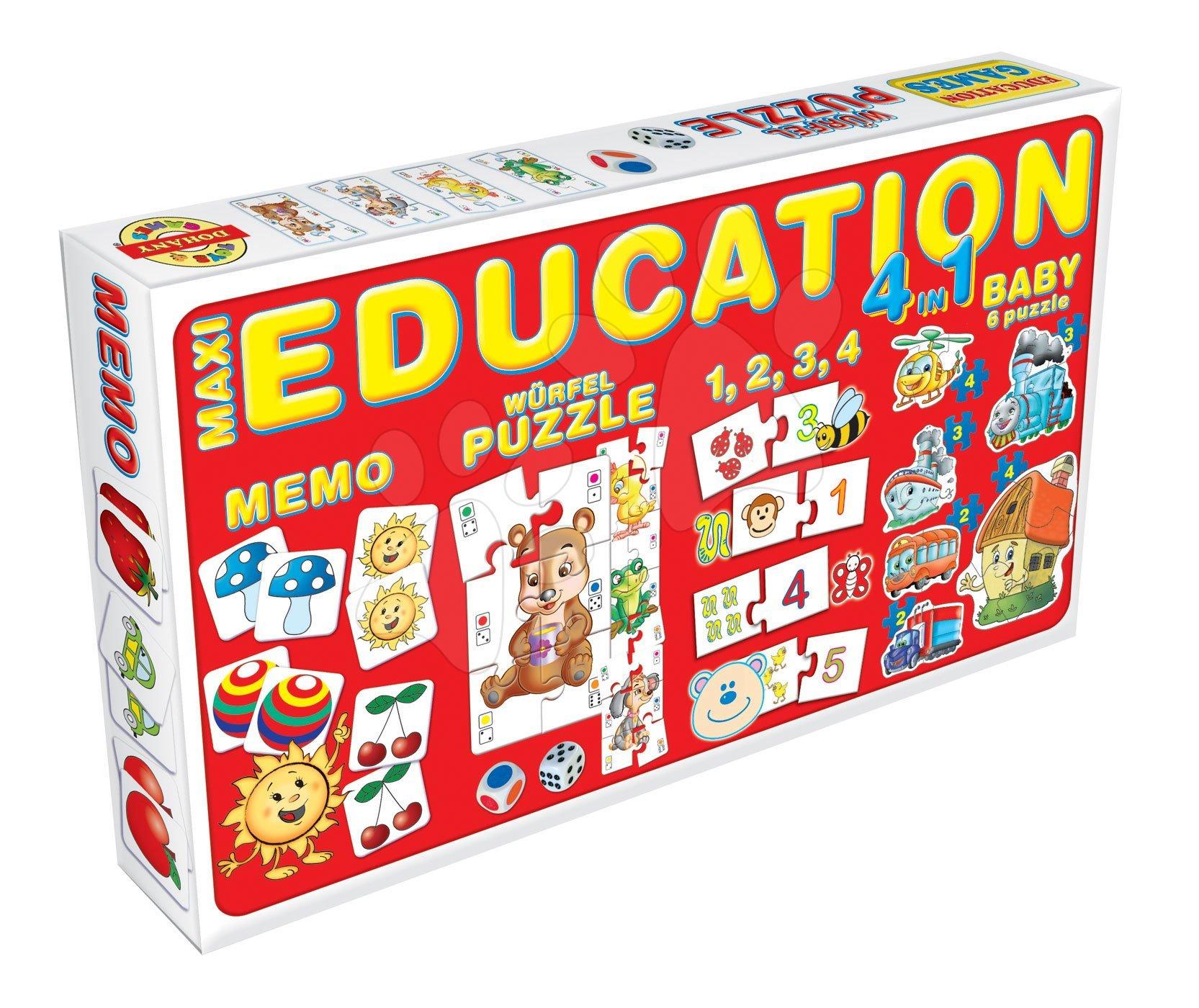 Spoločenské hry pre deti - Súprava hier 4 v 1 Dohány červená/zelená