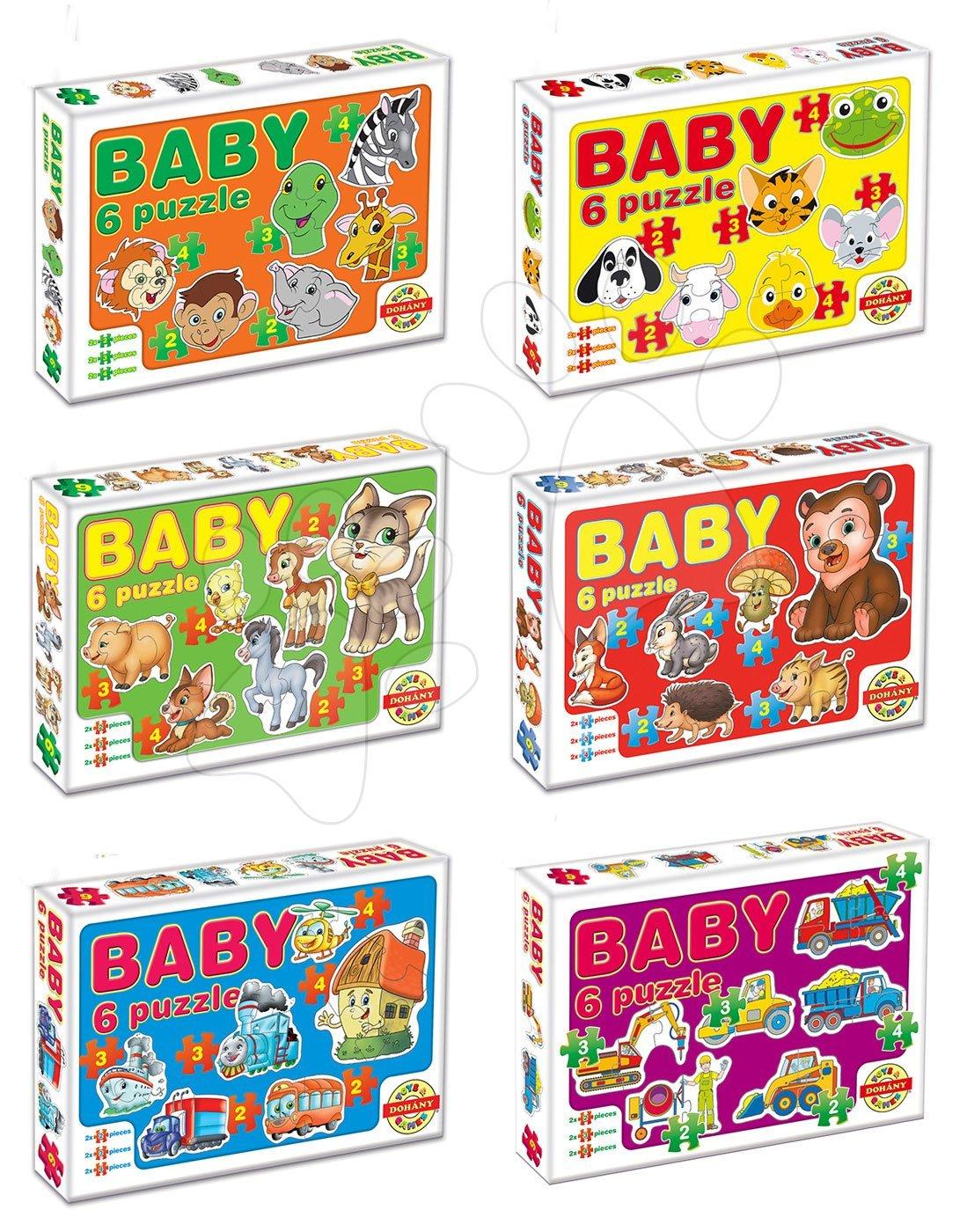 Baby puzzle Zvieratká a dopravné prostriedky Dohány 6-obrázkové od 24 mes