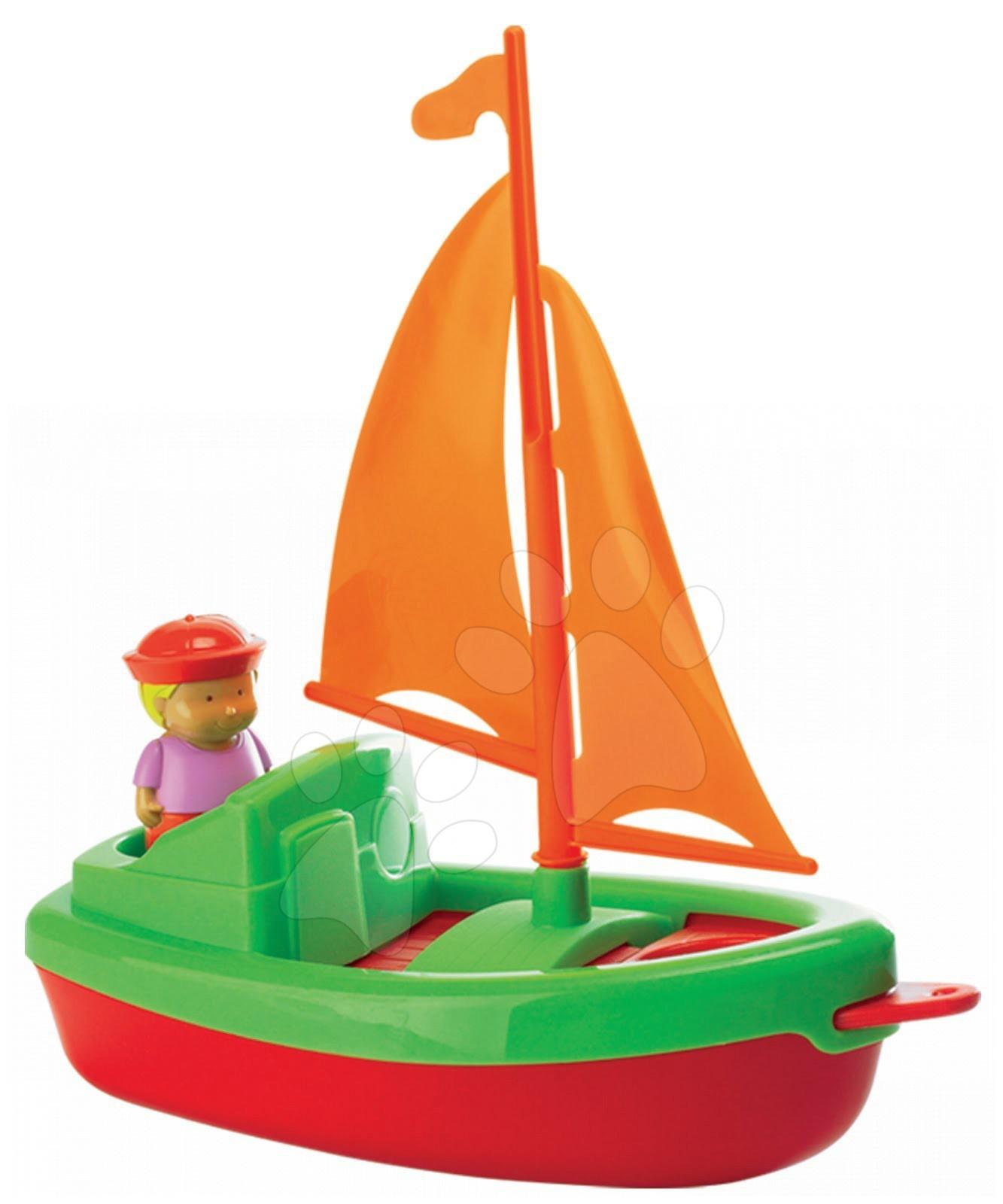 Staré položky - Plachetnice s námořníkem Écoiffier (délka 24,5 cm) červeno-zelená od 18 měsíců