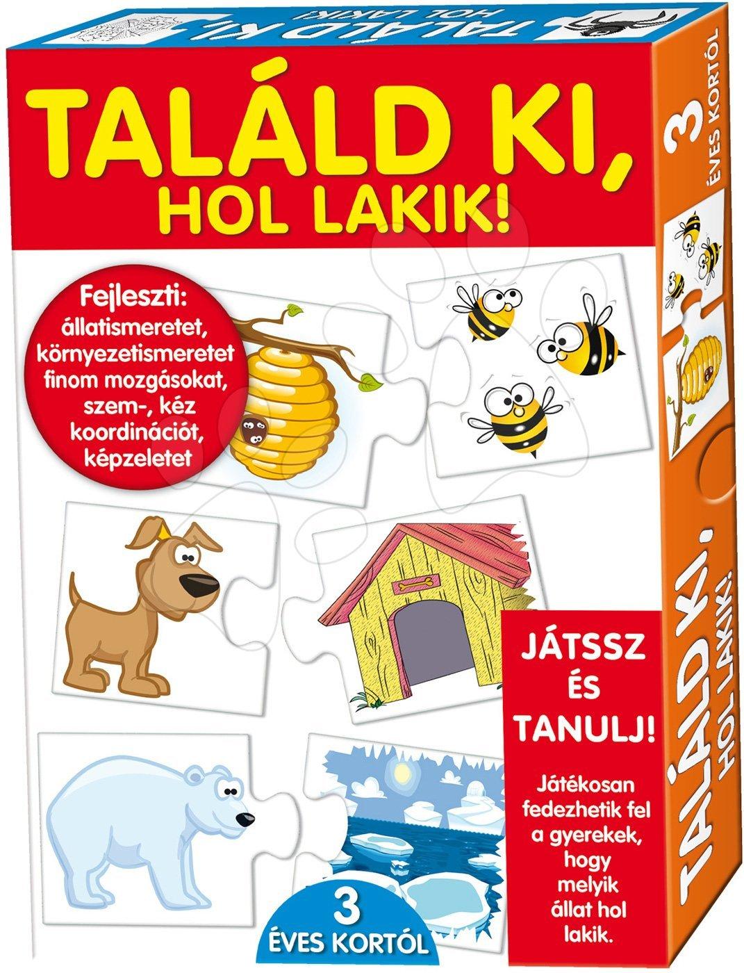 Spoločenské hry pre deti - Náučná hra so zvieratkami Hádaj, kde bývam? Dohány