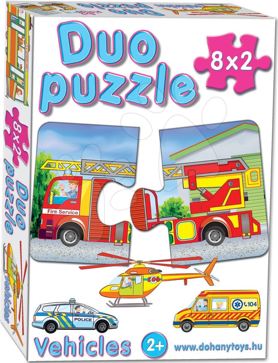 Puzzle pre najmenších - Baby puzzle Duo Dopravné prostriedky Dohány 8x2 dieliky 8-obrázkové od 24 mes