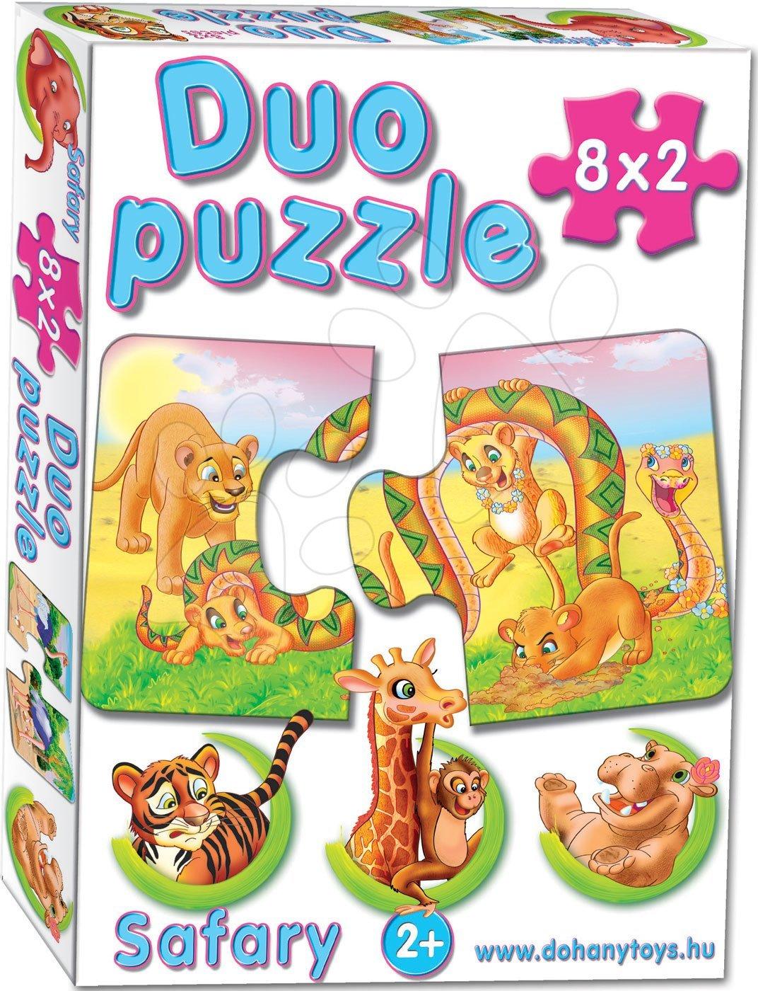 Puzzle pre najmenších - Baby puzzle Duo Safari Dohány 8x2 dieliky 8-obrázkové od 24 mes