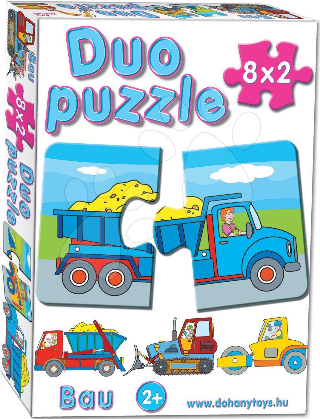 Puzzle pre najmenších - Baby puzzle Duo Pracovné autá Dohány 8x2 dieliky 8-obrázkové od 24 mes