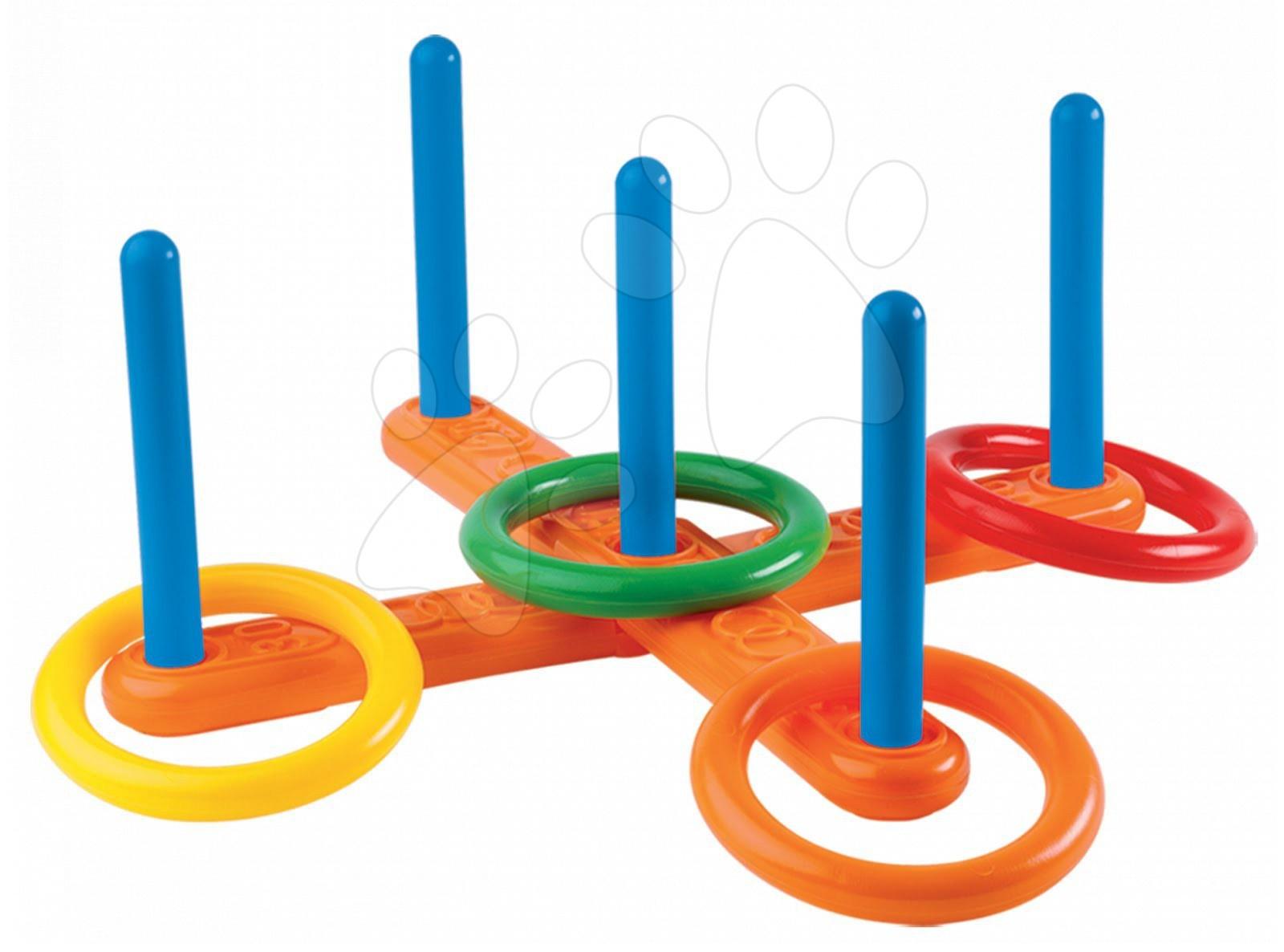 Sportovní hry pro nejmenší - Kruhy na házení Écoiffier a stojan s pěti sloupky od 18 měsíců