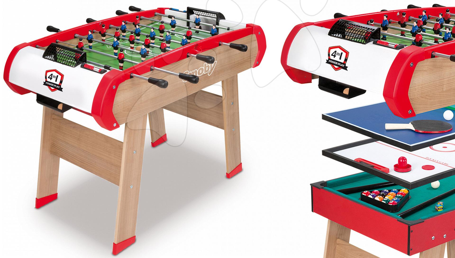 Stolný futbal - Futbalový stôl Power Play 4v1 Smoby multifunkčný od 8 rokov