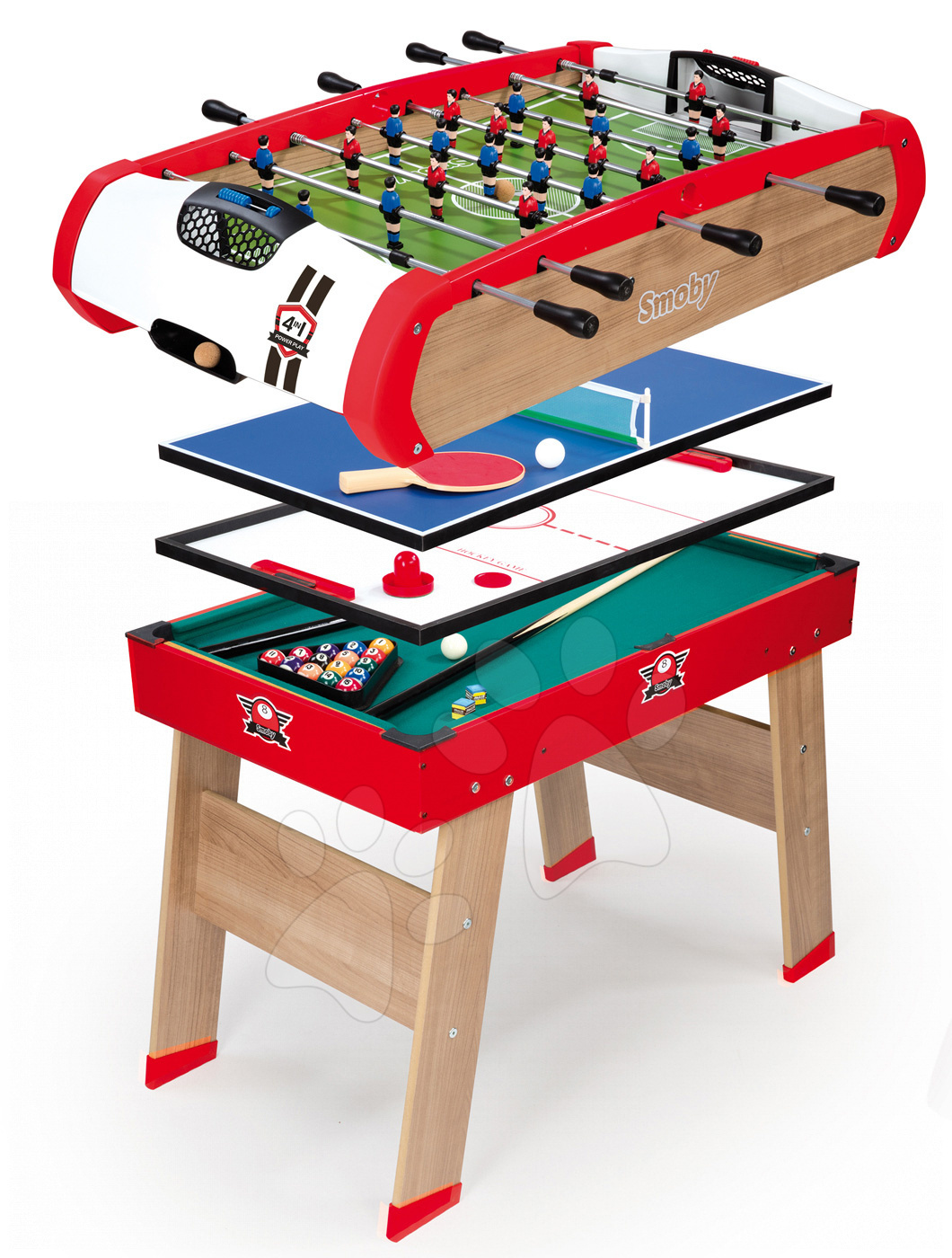 Dřevěný fotbalový stůl Powerplay 4v1 Smoby – stolní fotbal, kulečník, hokej a tenis od 8 let