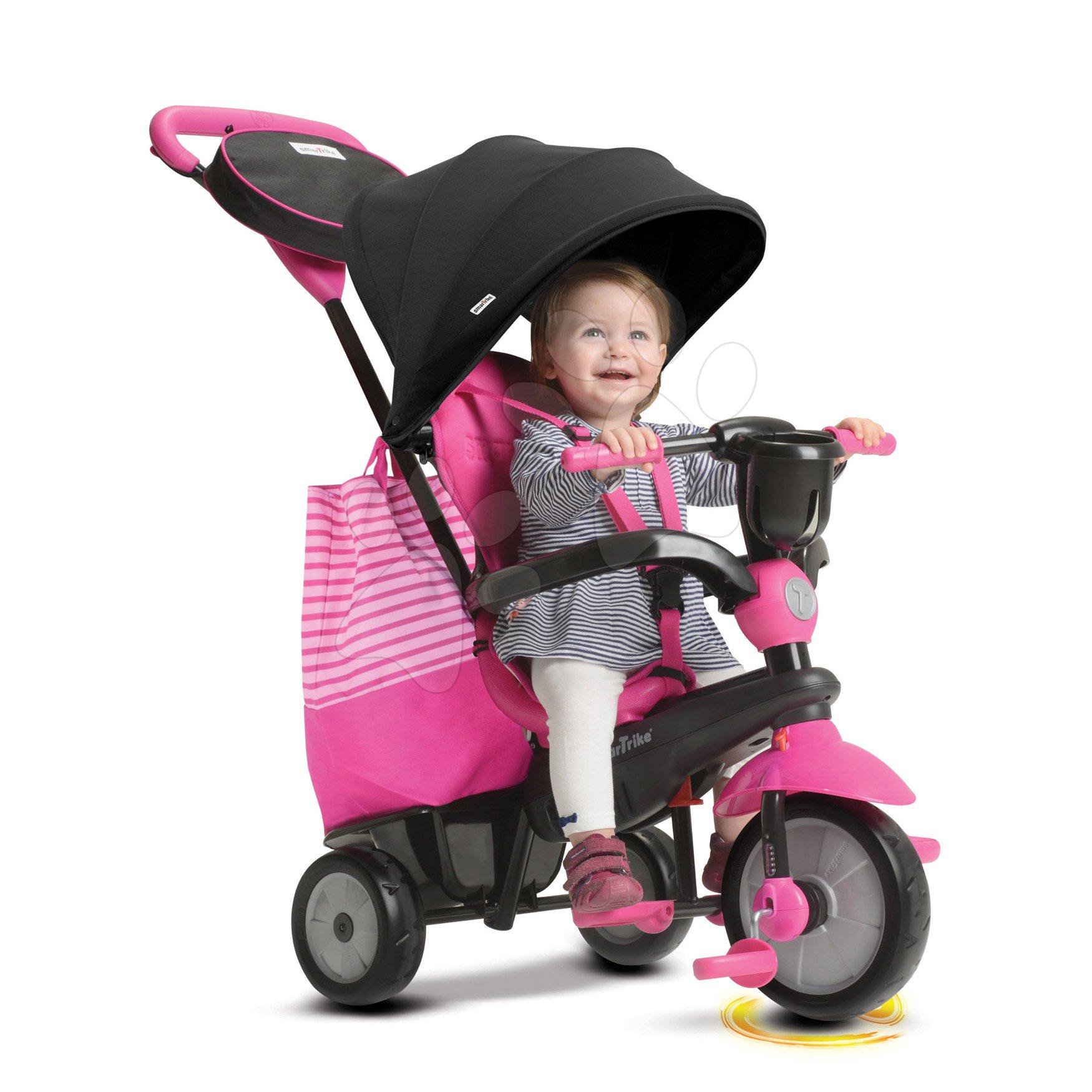 Tricikli SWING DLX 4in1 Pink TouchSteering smarTrike lengéscsillapítóval, szabadonfutó + UV védelem rózsaszín 10 hó-tól