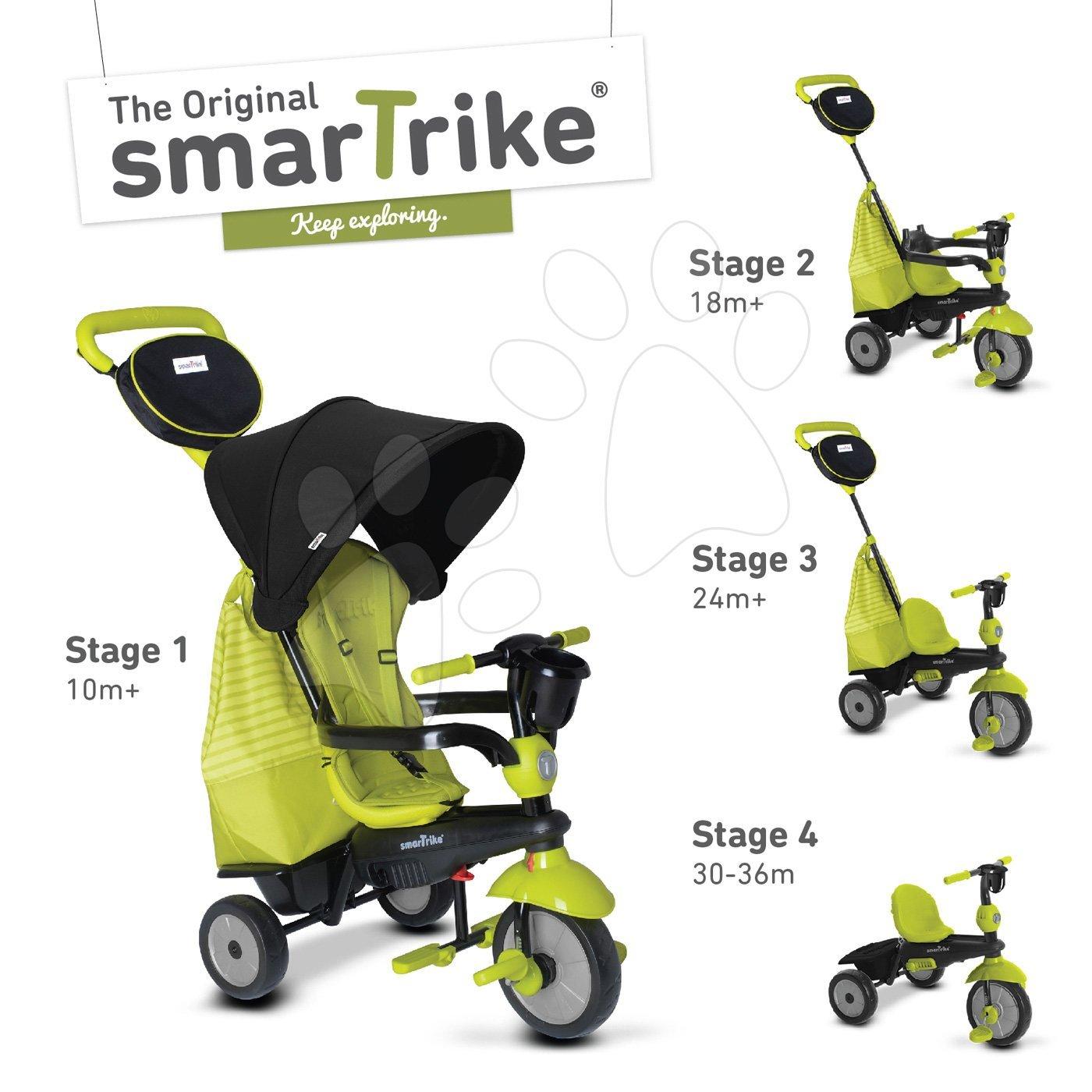 Trojkolka Deluxe Green Touch Steering 4v1 smarTrike s tlmičom a 2 taškami zeleno-čierna od 10 mesiacov