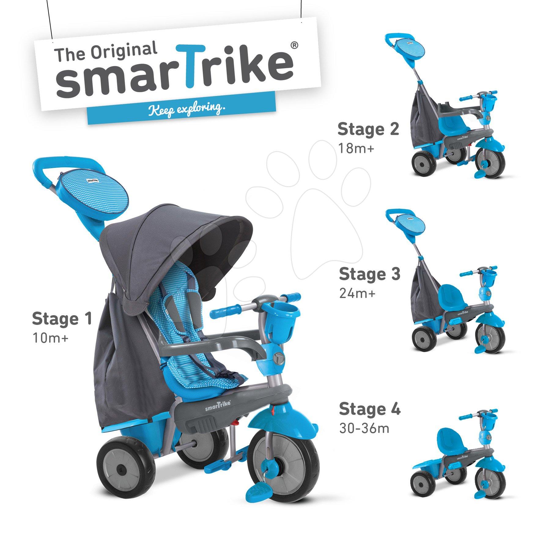 Tricikli SWING DLX 4in1 Grey&Blue TouchSteering smarTrike lengéscsillapítóval, szabadonfutó + UV védelem szürke-kék 10 hó-tól
