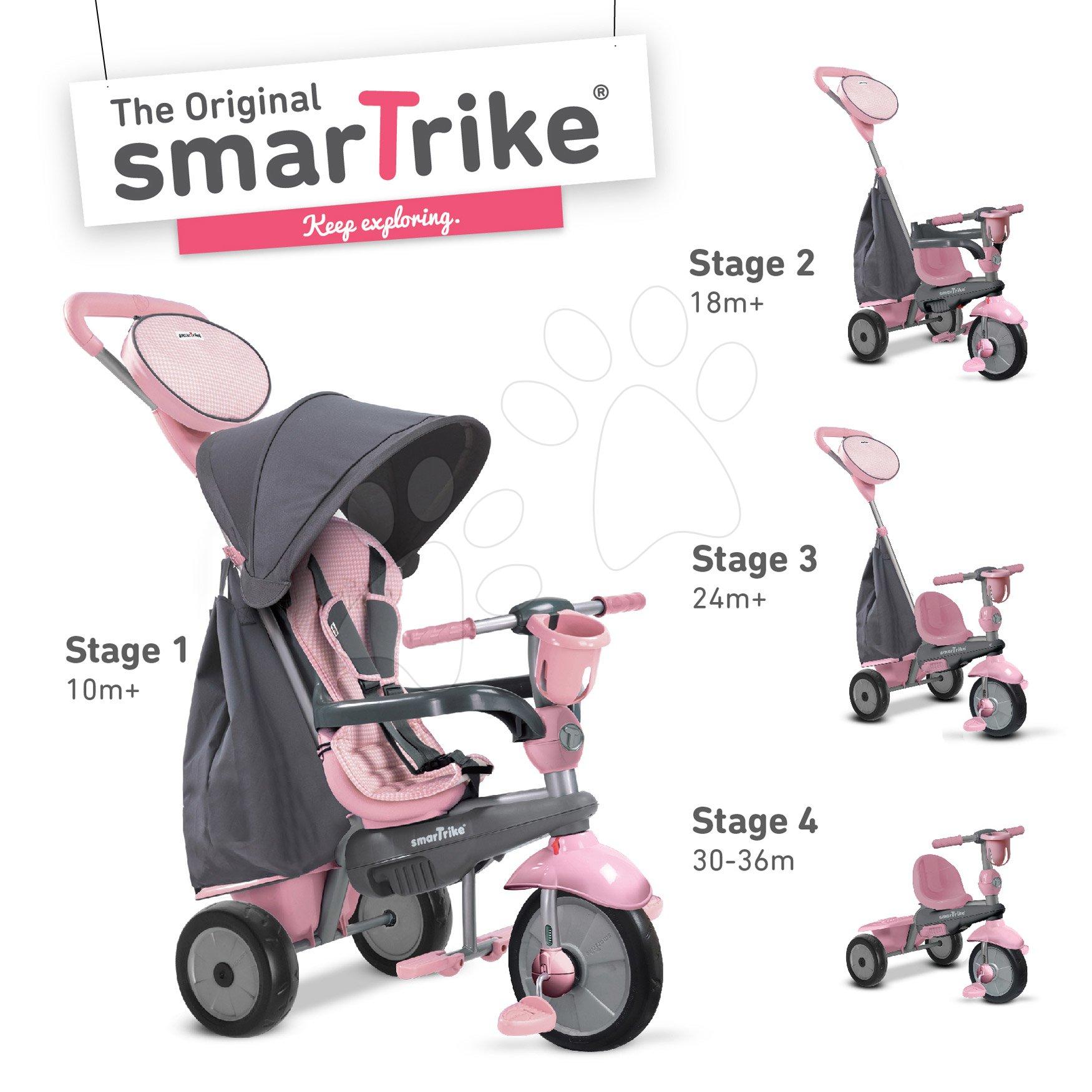 Tricikli SWING DLX 4in1 Grey&Pink TouchSteering smarTrike lengéscsillapítóval, szabadonfutó + UV védelem szürke-rózsaszín 10 hó-tól