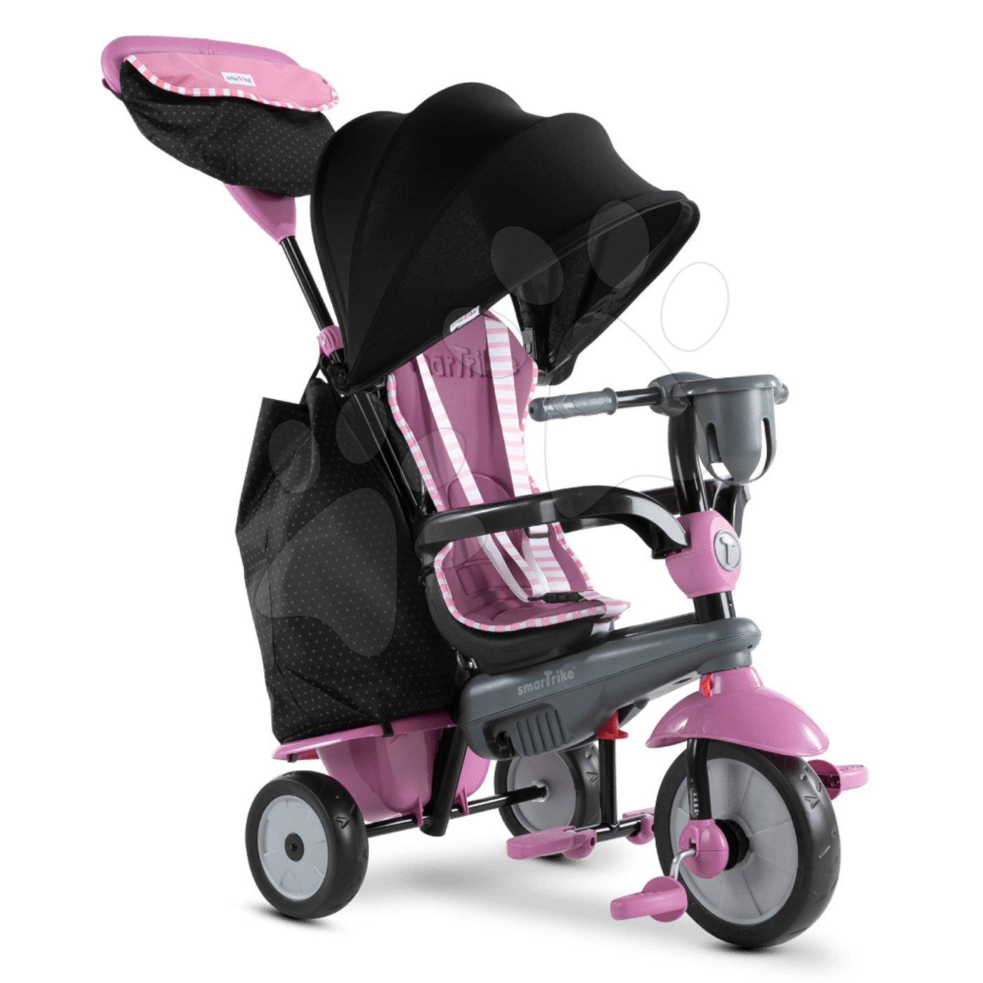 Tricikli od 10. meseca - Tricikel Swirl DLX 4v1 Grey&Pink TouchSteering smarTrike z blažilcem tresljajev in prostim tekom + UV filter sivo-rožnati od 10 mes