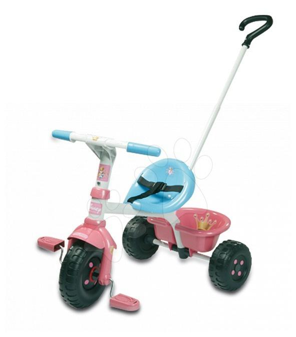 Tricicletă Prințesele Smoby cu mâner metalic