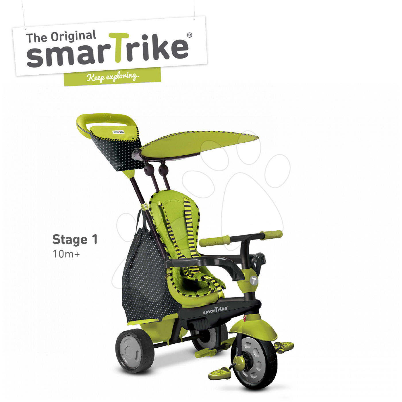 Trojkolky od 10 mesiacov - Trojkolka Glow Touch Steering 4v1 Black&Green smarTrike zeleno-čierna od 10 mes