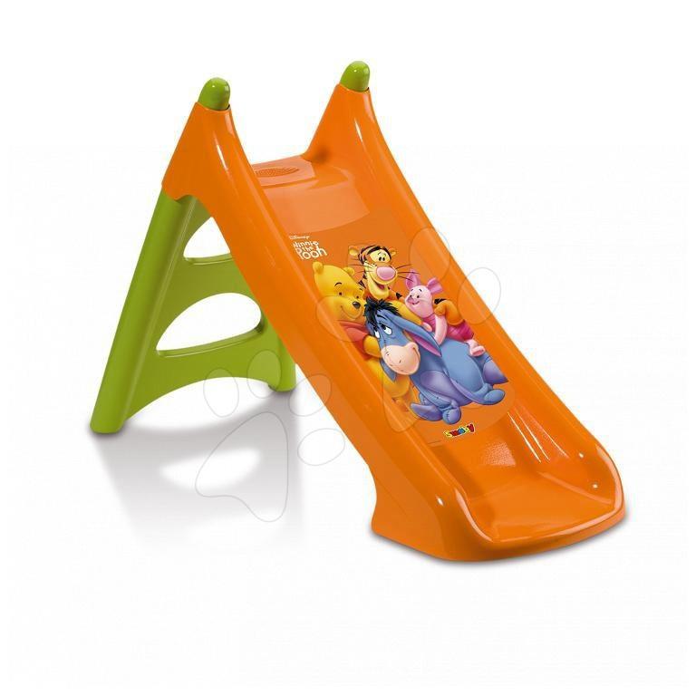 Tobogane pentru copii - Tobogan Winnie the Pooh XS Smoby cu apă și 90 cm suprafață de alunecare portocaliu cu filtru UV de la 24 de luni
