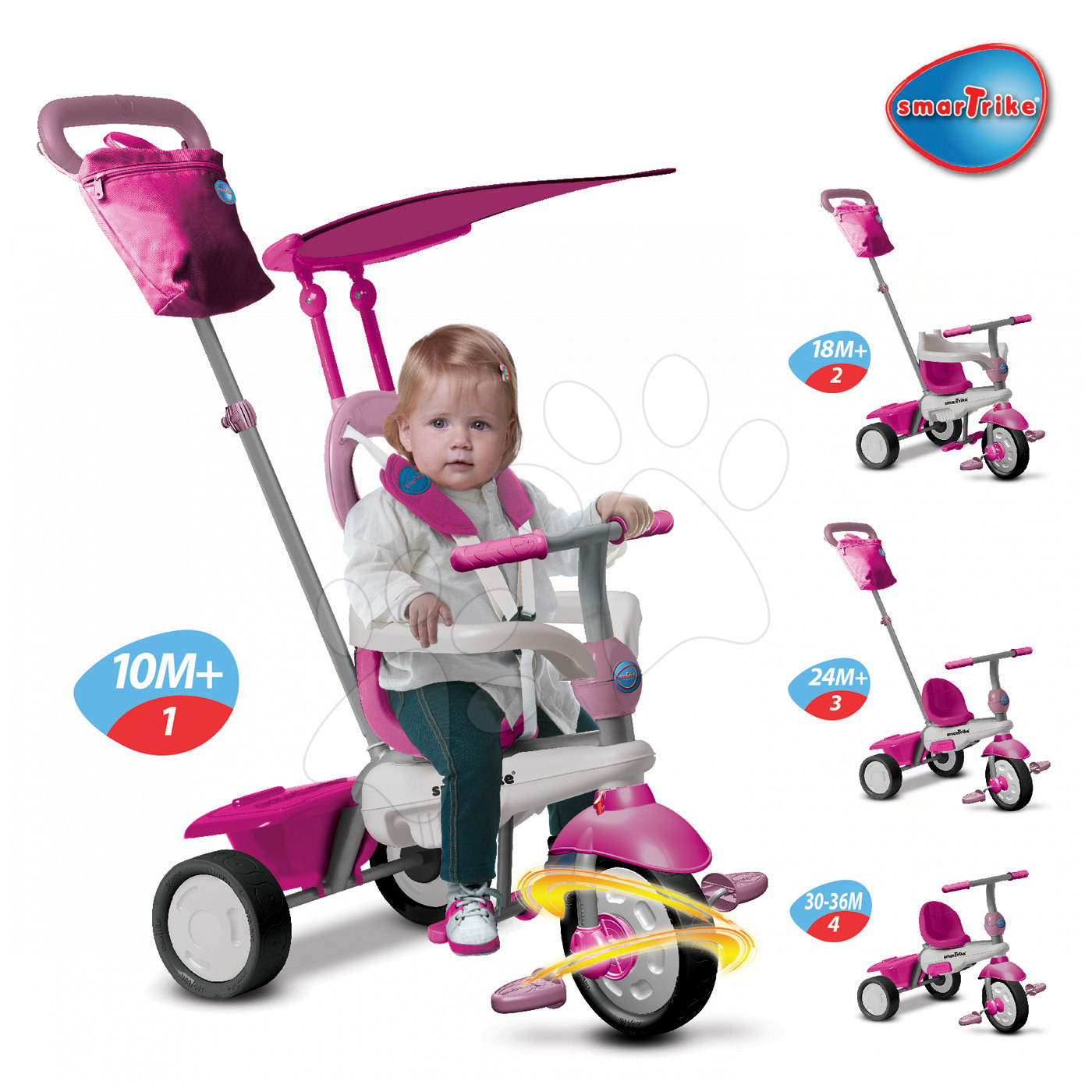 Trojkolky od 10 mesiacov - Trojkolka Joy Touch Steering smarTrike ružovo-biela od 10 mes