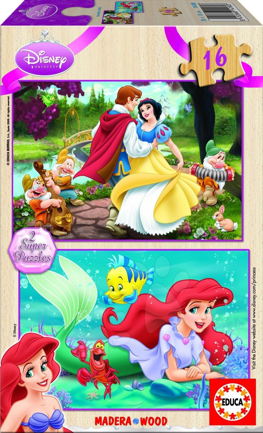 Drevené Disney puzzle - Drevené puzzle Disney - Princezné Educa 2x 16 dielov