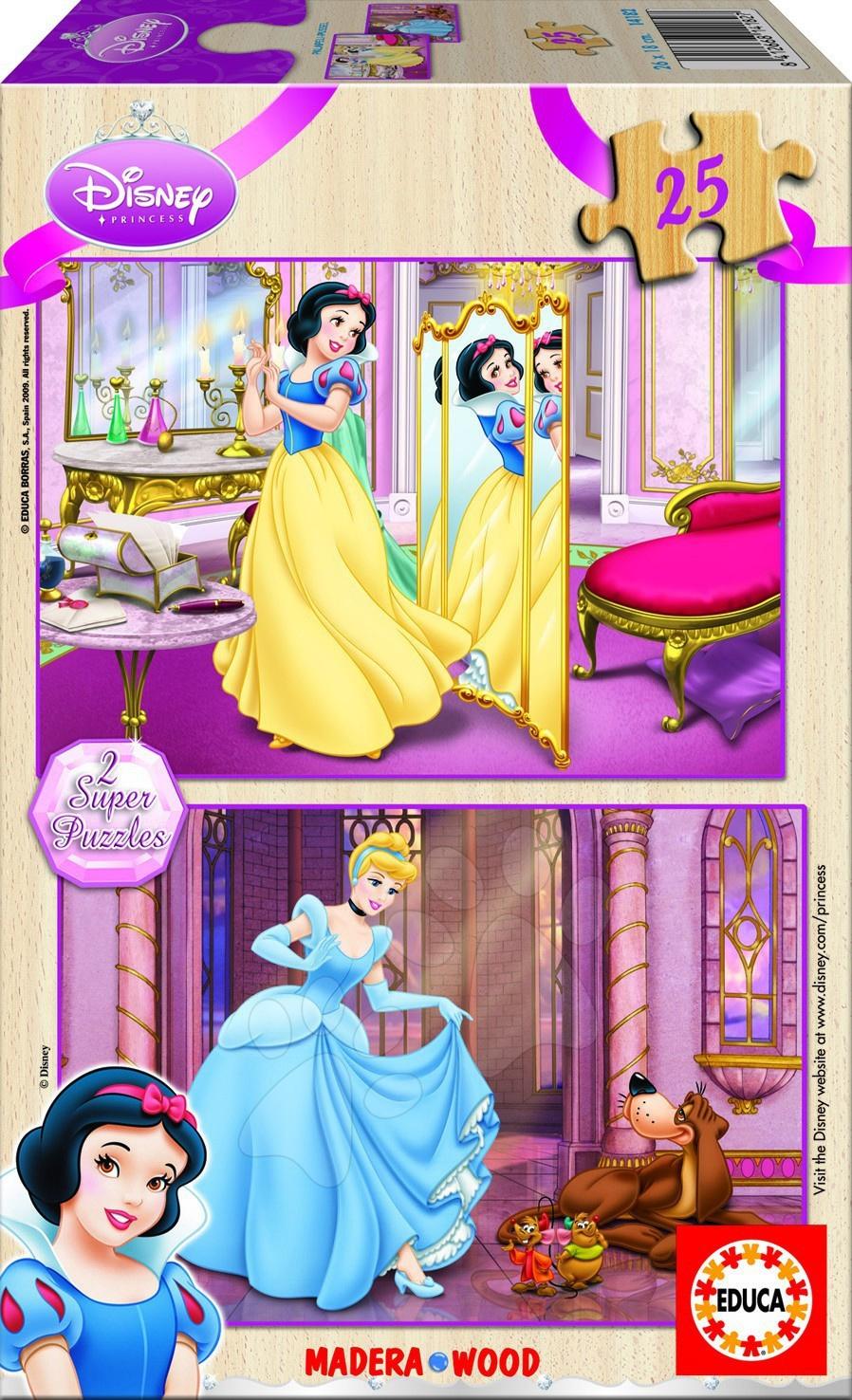 Puzzle drevené Disney - Princezné Educa 2x 25 dielov