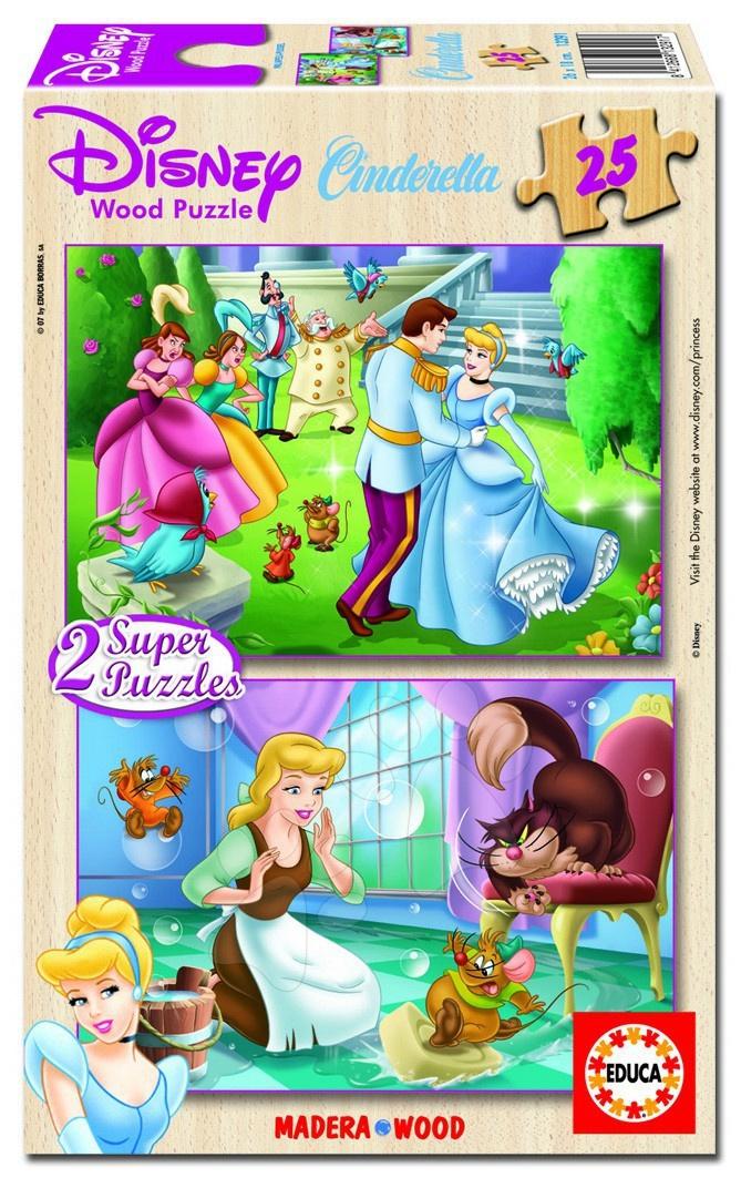 Dřevěné puzzle Disney Popelka Educa 2x25 dílků