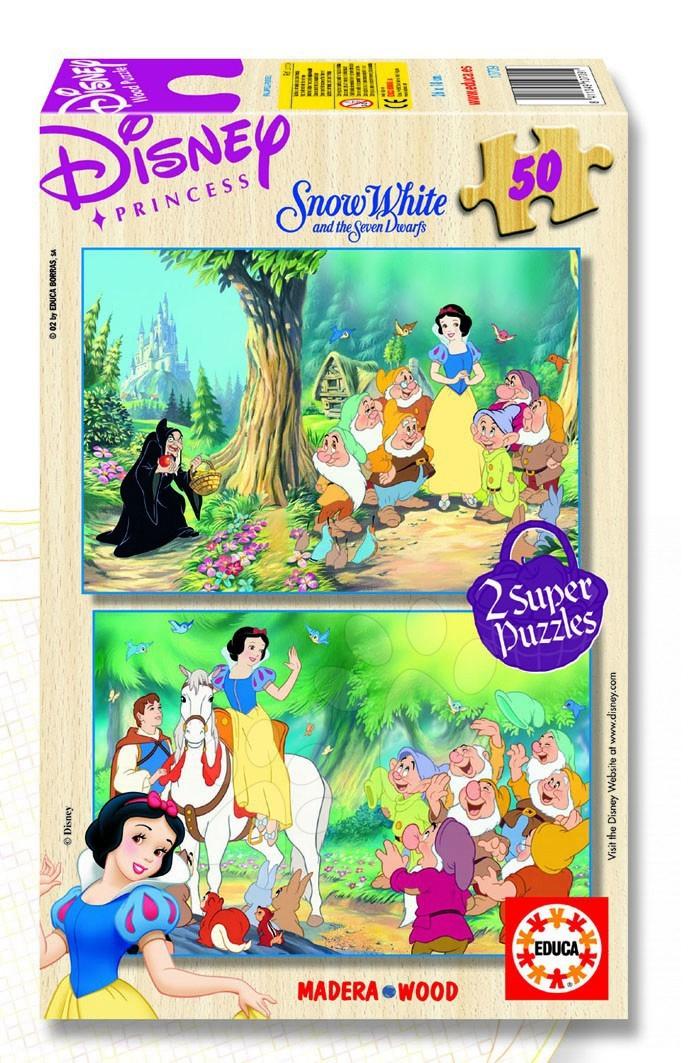 Staré položky - Dřevěné puzzle Disney Sněhurka Educa 2x50 dílků