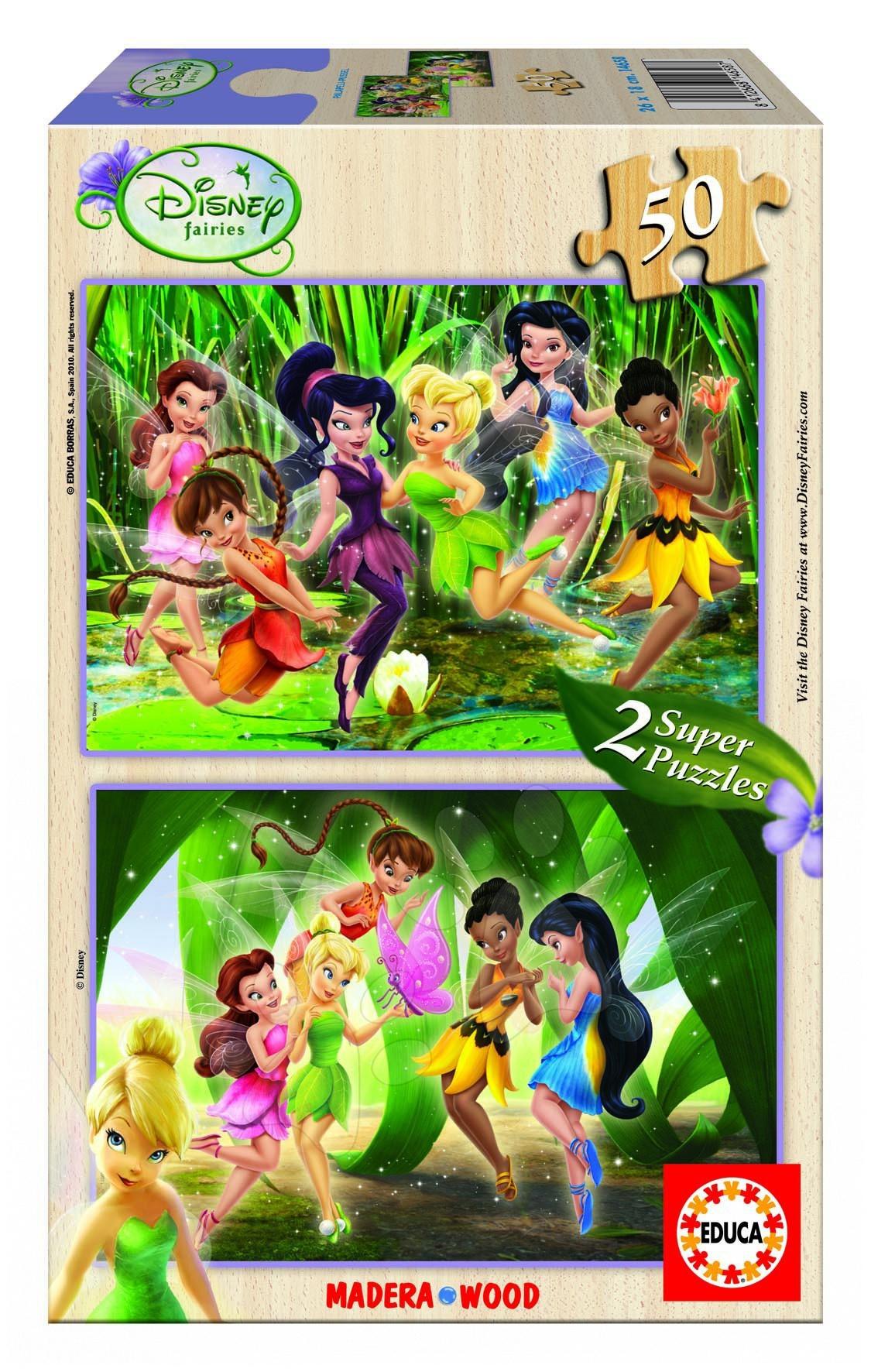 Dřevěné puzzle Disney - Fairies Educa 2 x 50 dílků