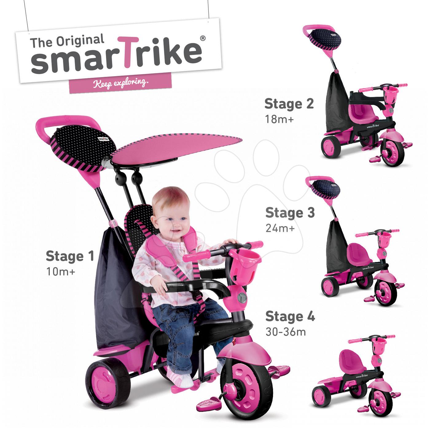 Tříkolka Spark Black&Pink Touch Steering 4v1 smarTrike růžovo-černá od 10 měsíců