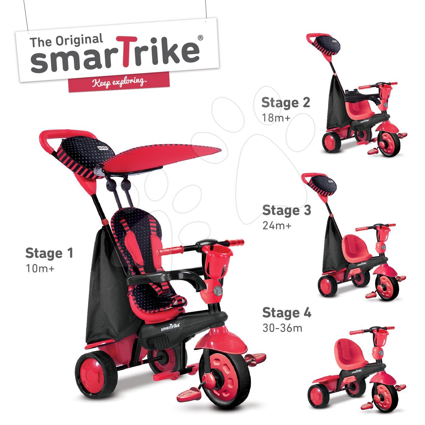 Trojkolky od 10 mesiacov - Trojkolka Spark Touch Steering 4v1 Black&Red smarTrike červeno-čierna od 10 mes