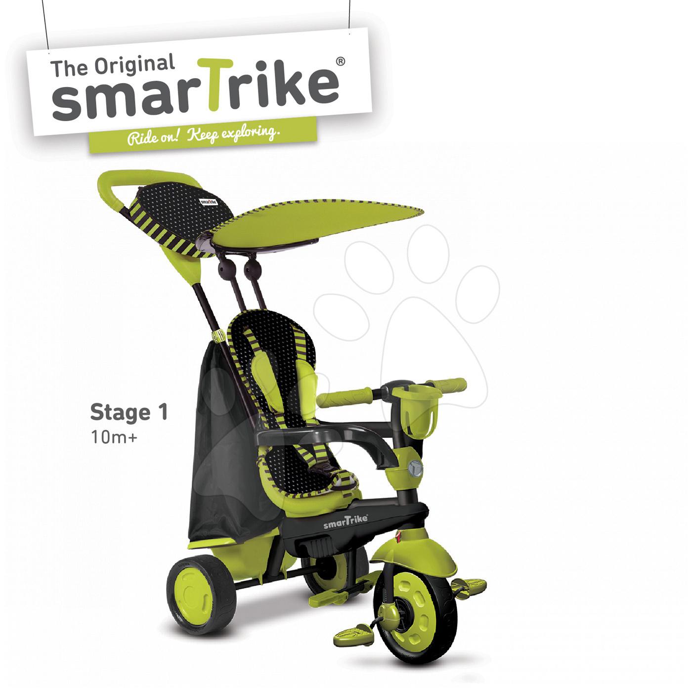 Trojkolky od 10 mesiacov - Trojkolka Spark Touch Steering 4v1 smarTrike zeleno-čierna od 10 mes
