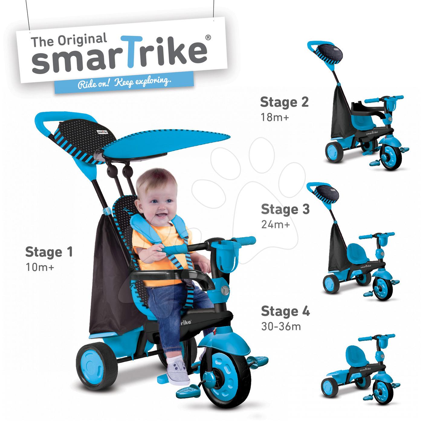 Trojkolky od 10 mesiacov - Trojkolka Spark Blue Touch Steering 4v1 smarTrike modro-čierna od 10 mes