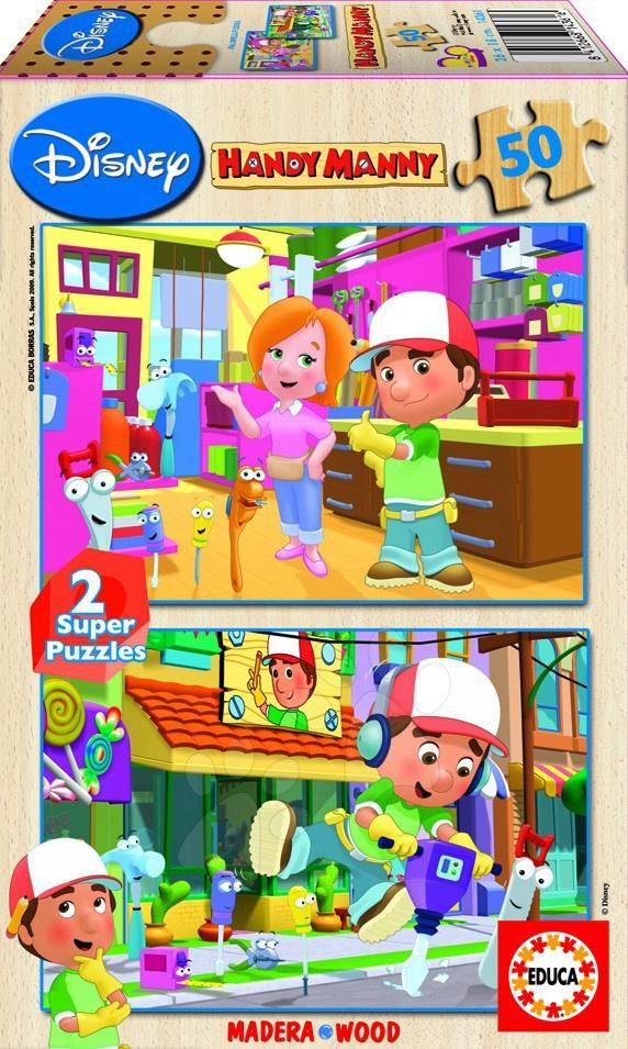 Lesene Disney puzzle - Educa Disney puzzle drevené - Handy Manny 2 x 50 delov 26*18 cm