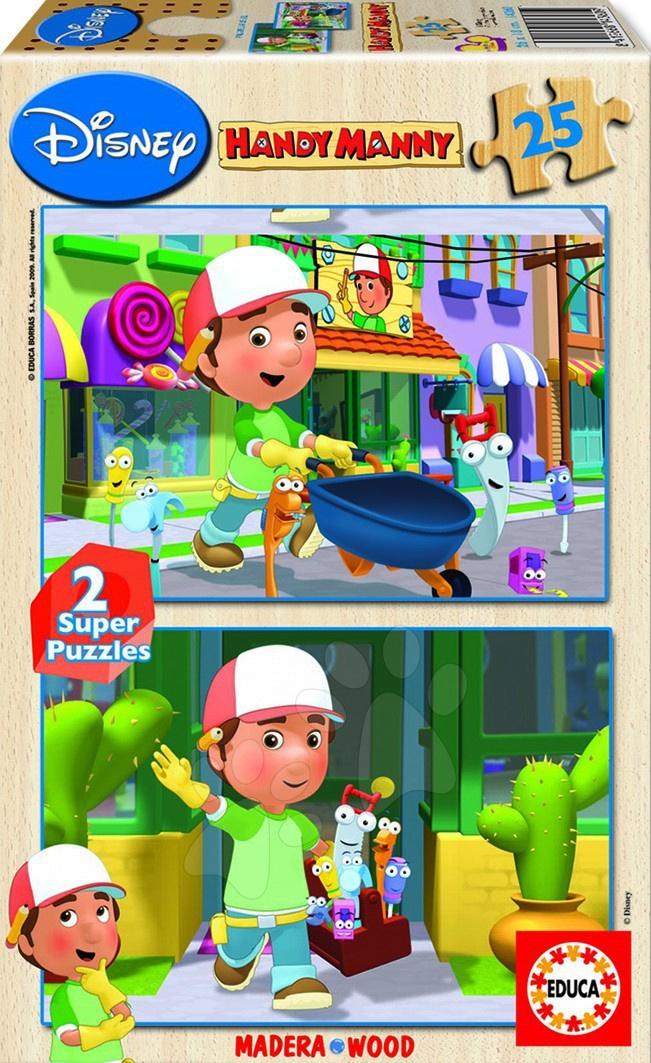 Educa Disney puzzle drevené - Handy Manny 2 x 25 delov 26*18 cm