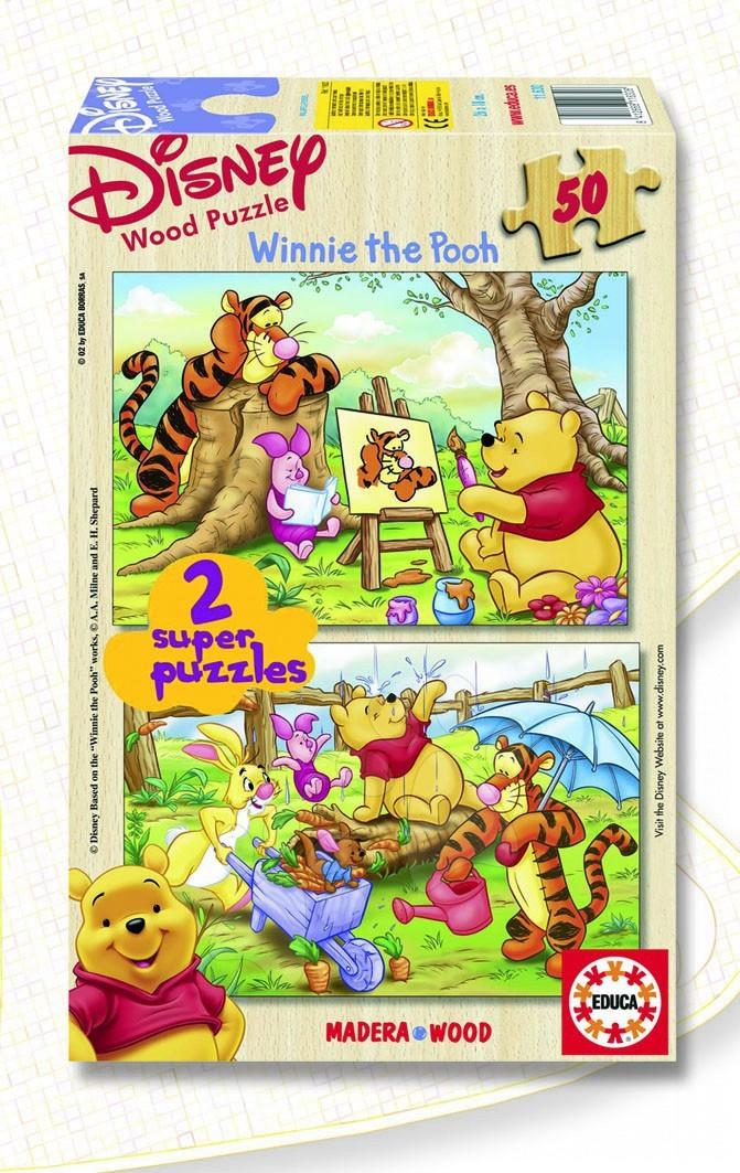Lesene Disney puzzle - Educa Disney puzzle drevené - Macko Pooh 2 x 50 delov 26*18 cm