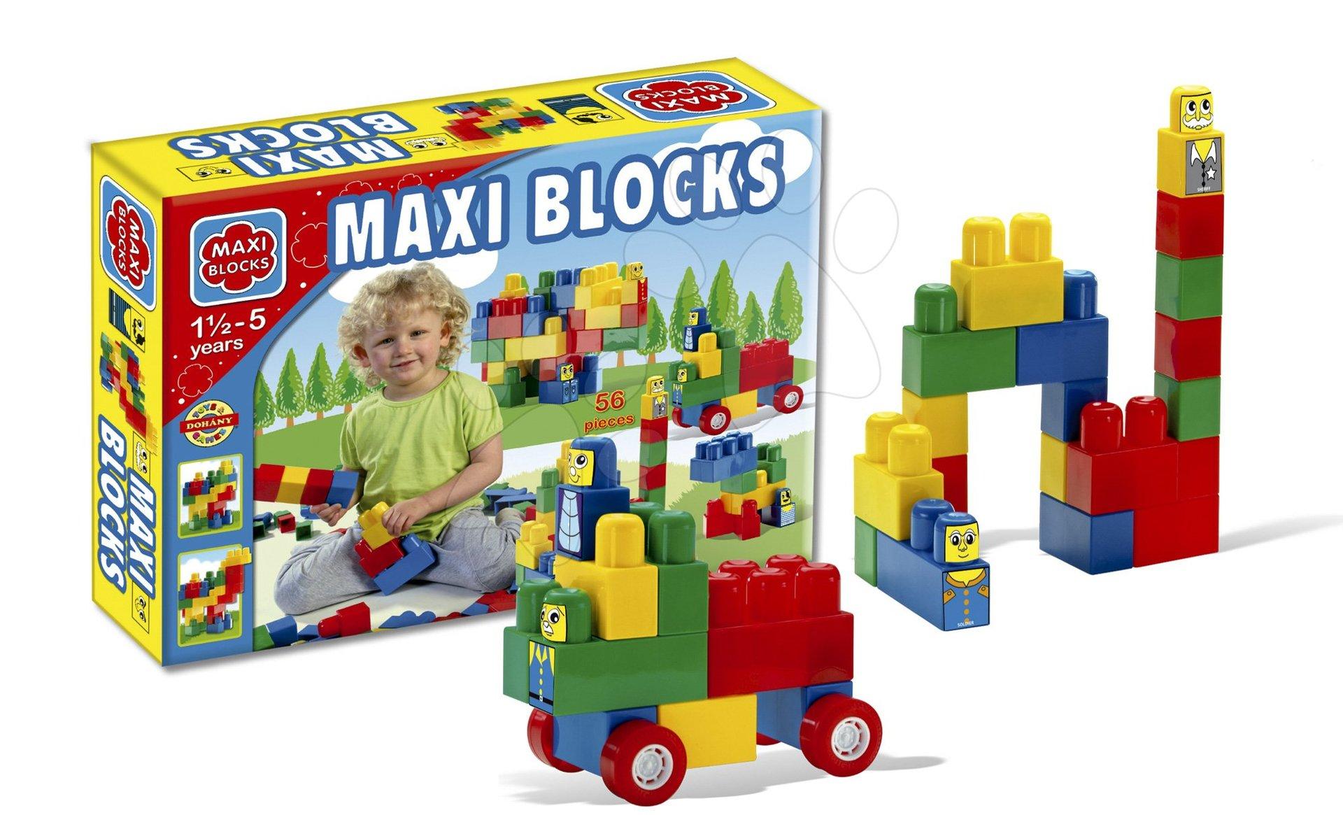 Cuburi de jucărie Maxi Blocks Dohány în ambalaj de carton 56 de piese de la 18 luni