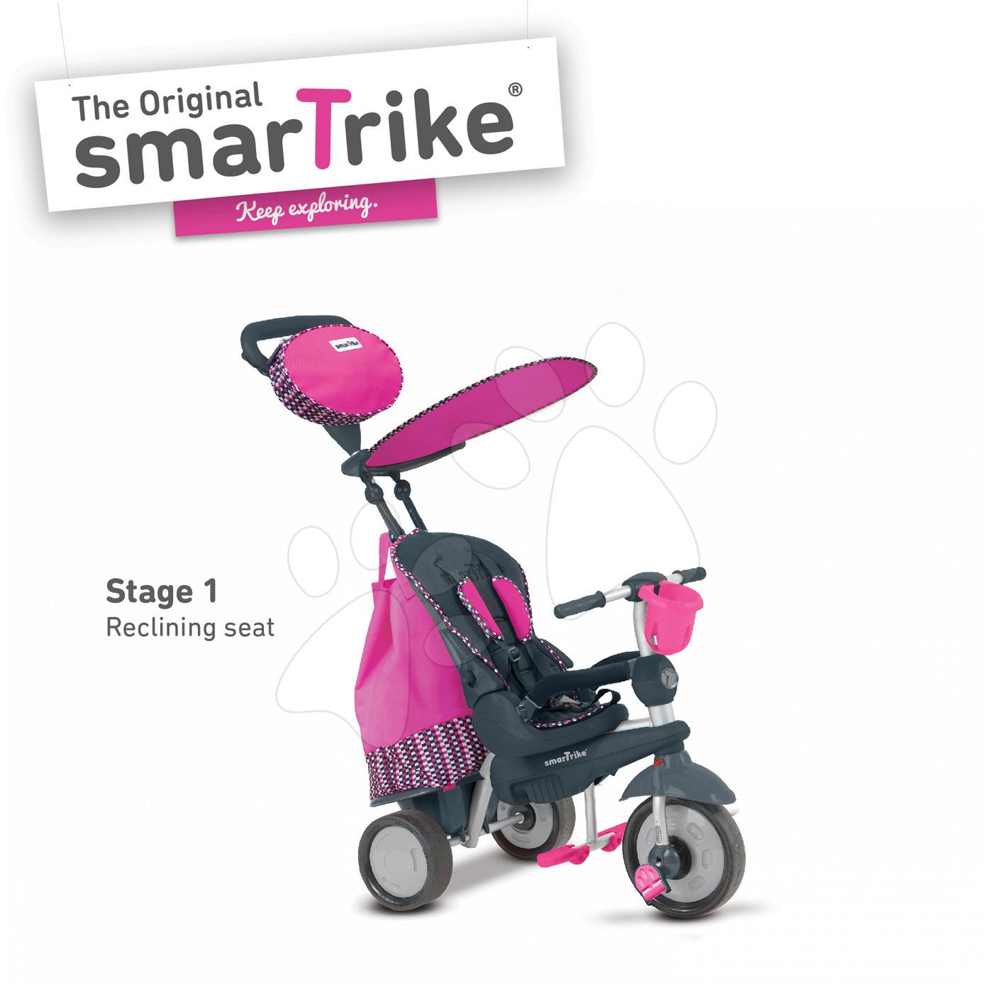 Trojkolky od 10 mesiacov - Trojkolka Splash 5v1 Pink smarTrike 360° riadenie s polohovateľnou opierkou ružovo-šedá od 10 mes