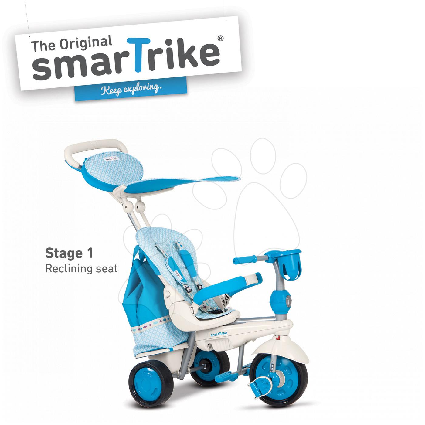 Trojkolky od 10 mesiacov - Trojkolka Splash 5v1 Blue&White smarTrike 360° riadenie s polohovateľnou opierkou modro-krémová od 10 mes
