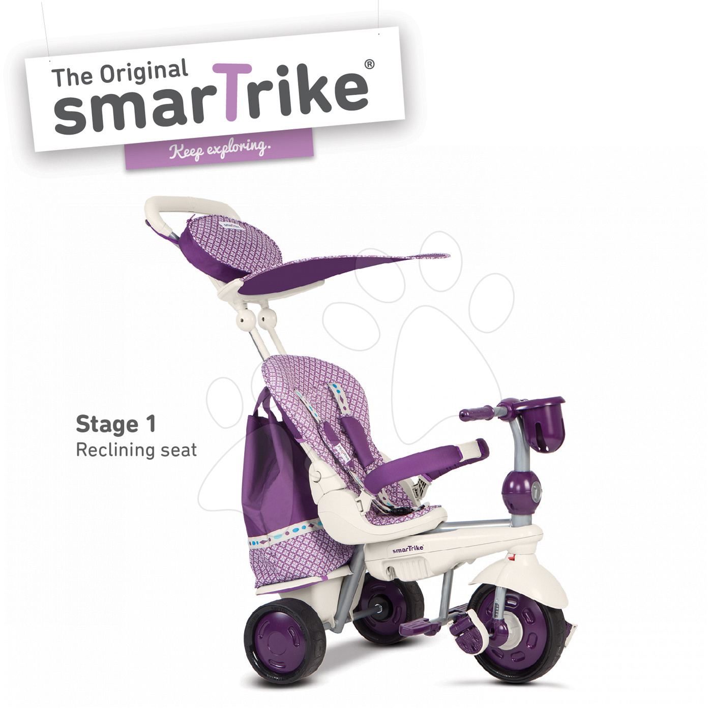 Tricicletă Splach 5 în 1 Purple&White smarTrike 360° cu direcționare și cu spatele cu mișcare  mov-crem de la 10 luni