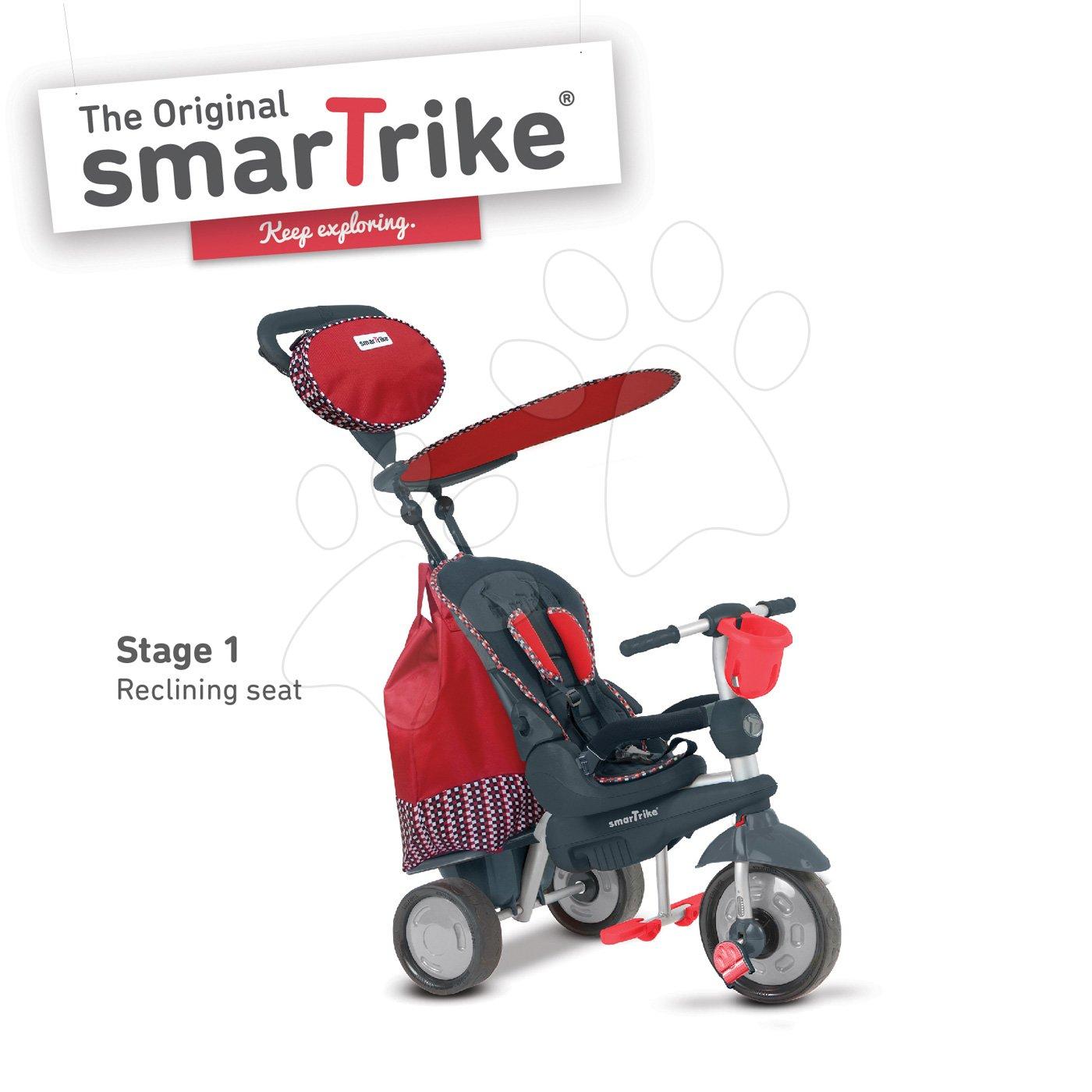 Tricicletă Splash 5în1 Red smarTrike cu ghidare 360° și spătar rabatabil roșu-gri de la 10 luni