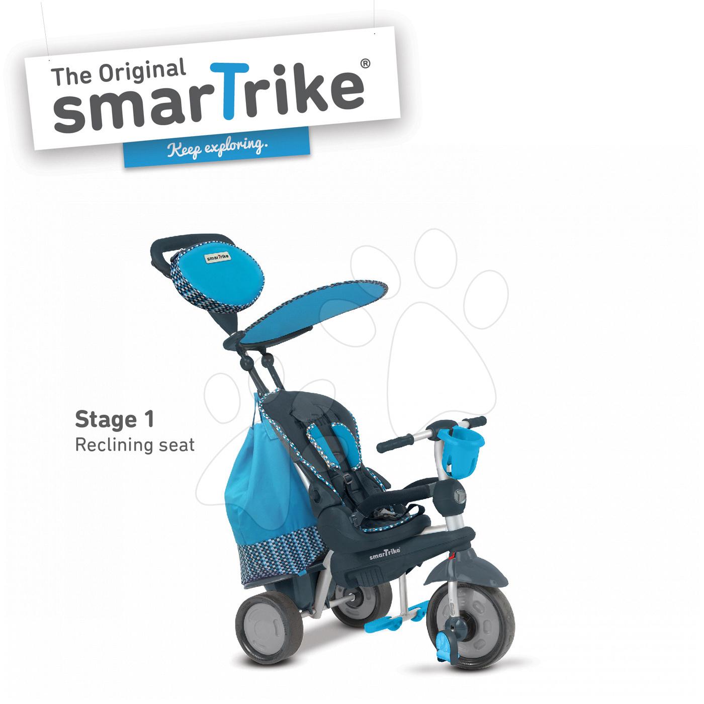 Trojkolky od 10 mesiacov - Trojkolka Splash 5v1 Blue smarTrike 360° riadenie s polohovateľnou opierkou modro-šedá od 10 mes