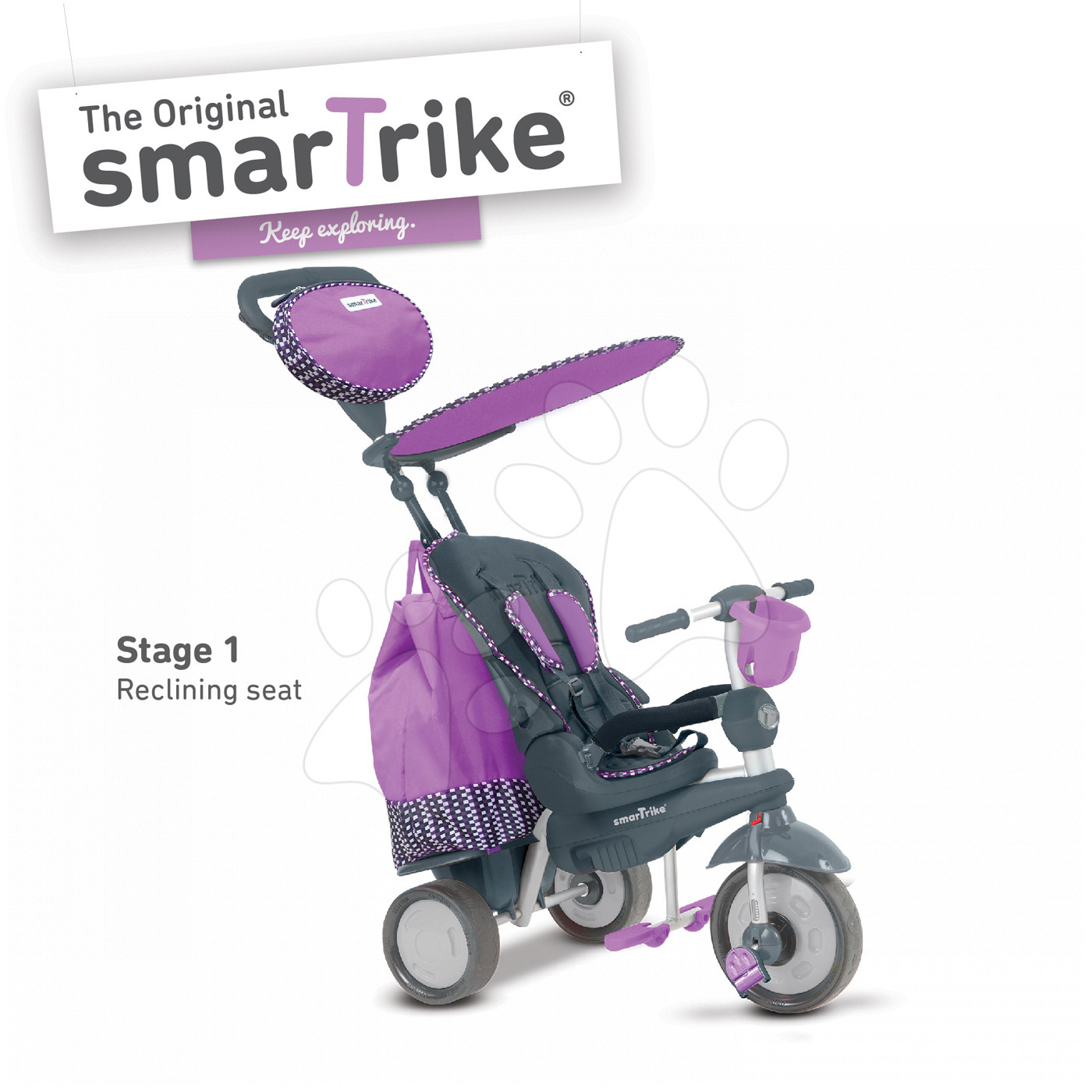 Trojkolky od 10 mesiacov - Trojkolka Splash 5v1 Purple smarTrike 360° riadenie s polohovateľnou opierkou fialovo-šedá od 10 mes