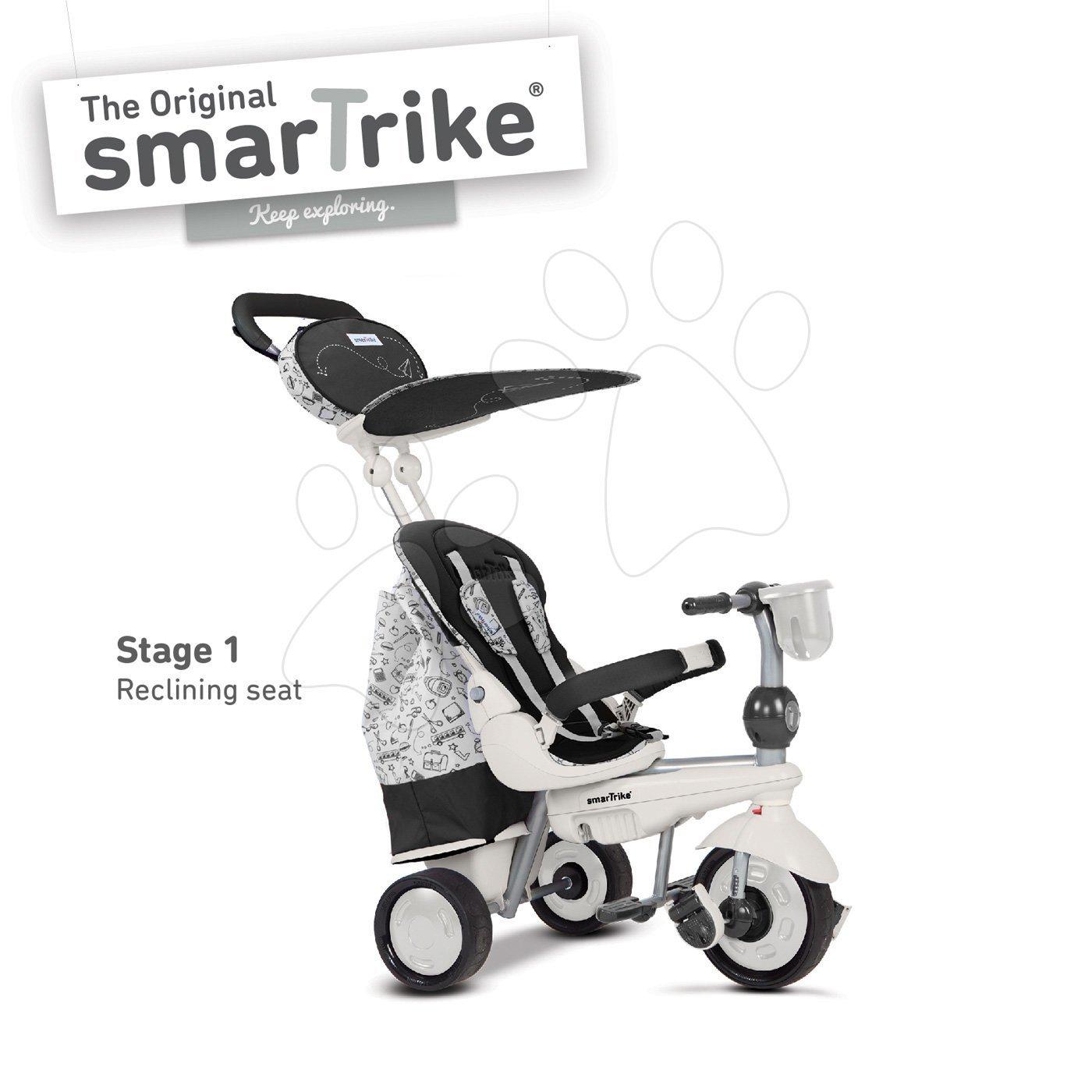 Trojkolka Dazzle 5v1 smarTrike Black&White Touch Steering s polohovateľnou opierkou a 2 taškami čierno-šedá od 10 mes