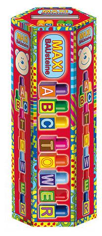 Játékkockák ABC torony Maxi Blocks Dohány 40 darabos 18 hó-tól