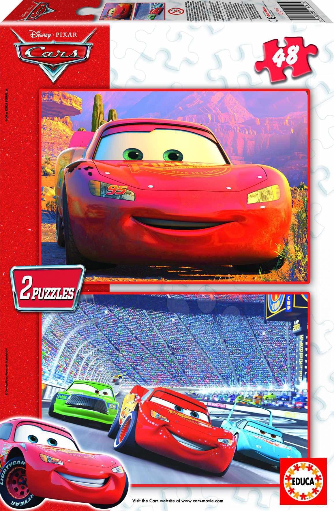 Dětské puzzle do 100 dílků - Puzzle Auta Educa 2x48 dílků