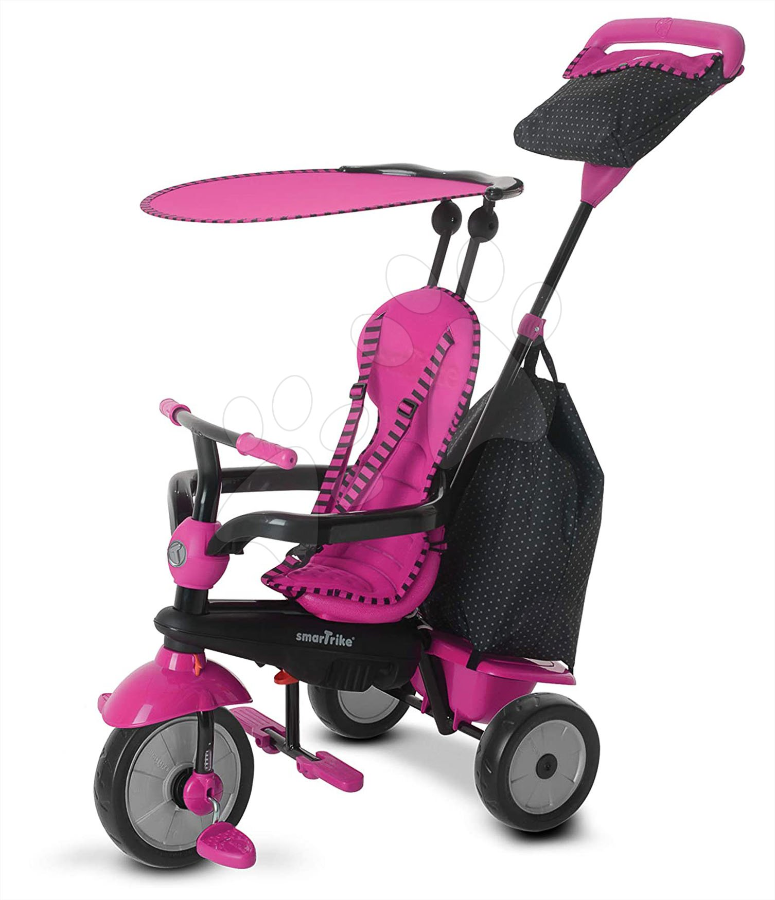 Trojkolky od 10 mesiacov - Trojkolka Glow 4v1 Touch Steering Black&Pink smarTrike ružovo-čierna od 10 mes