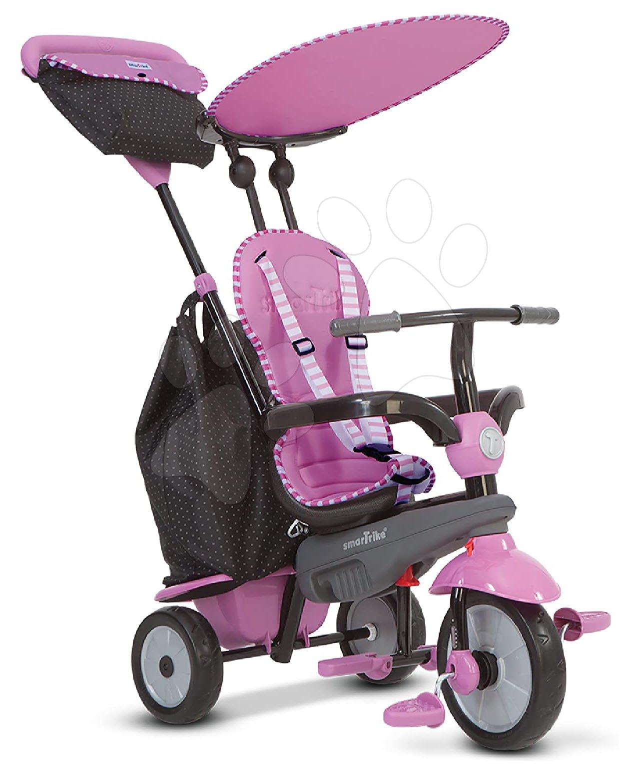 Trojkolky od 10 mesiacov - Trojkolka Shine 4v1 Touch Steering Grey&Pink smarTrike šedo-ružová od 10 mes