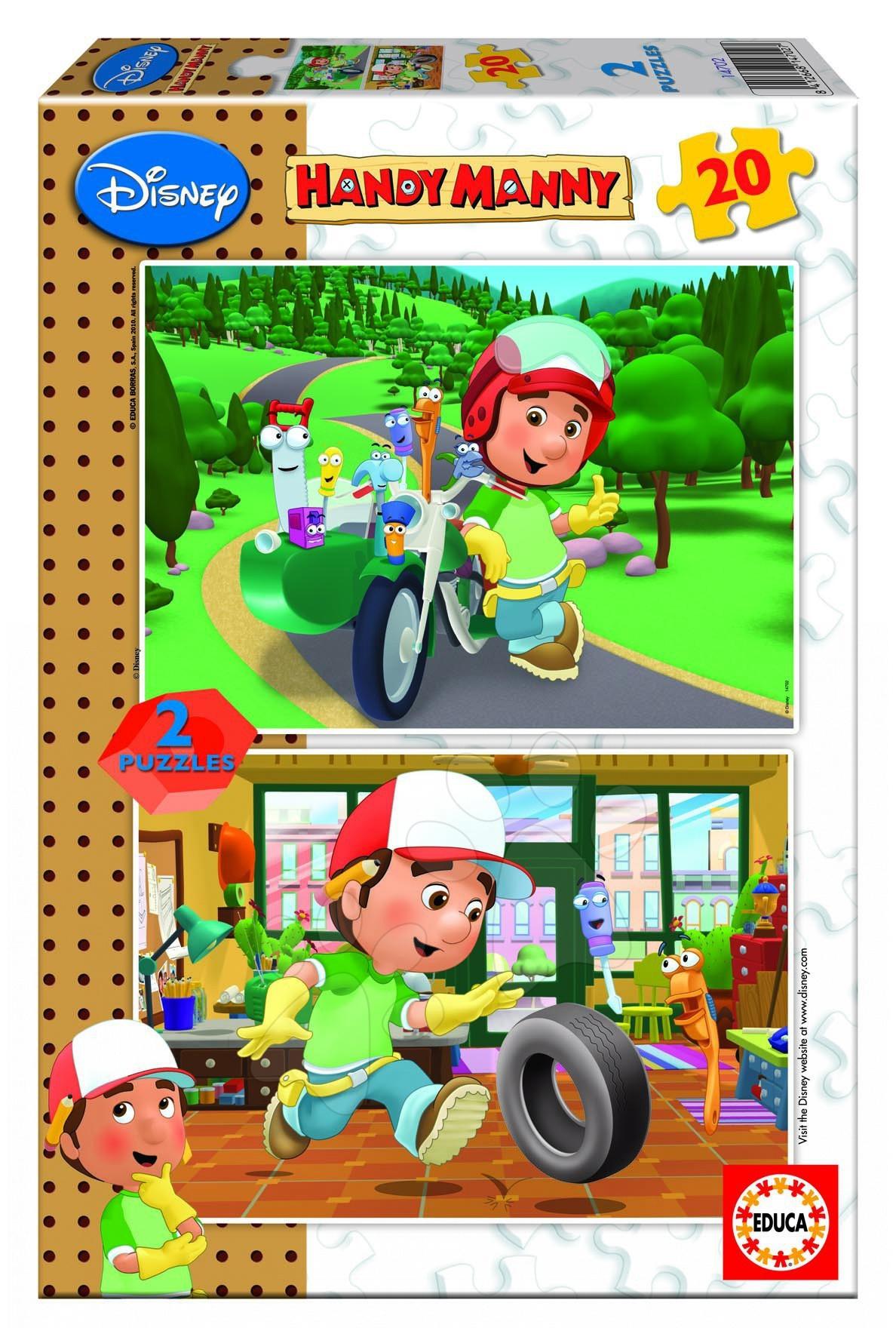 Dětské puzzle do 100 dílků - Disney puzzle Handy Manny Educa 2 x 20 dílů