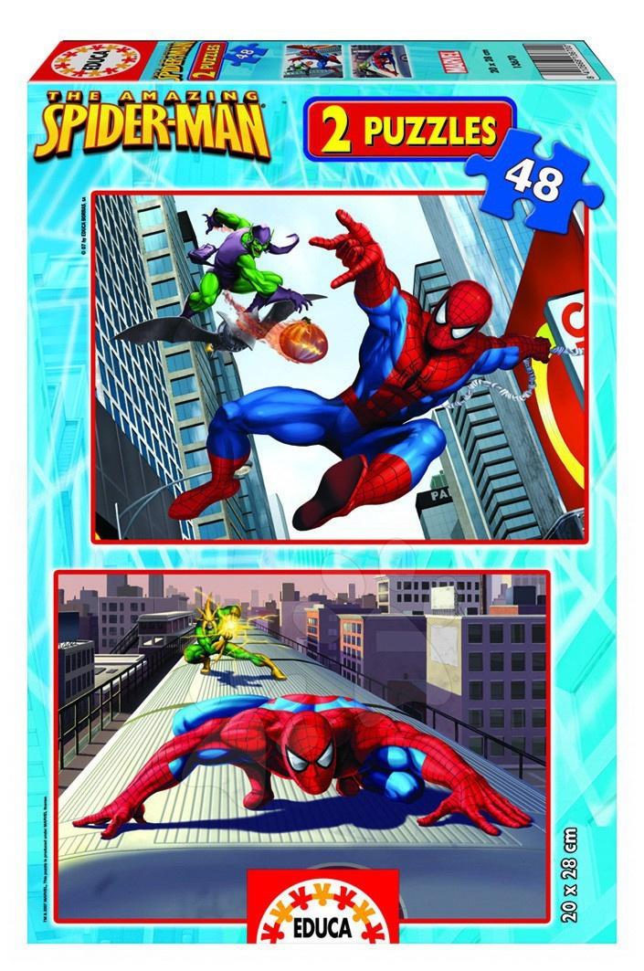 Puzzle de copii maxim 100 piese - Puzzle Disney Omul păianjen Educa 2 x 48 bucăţI